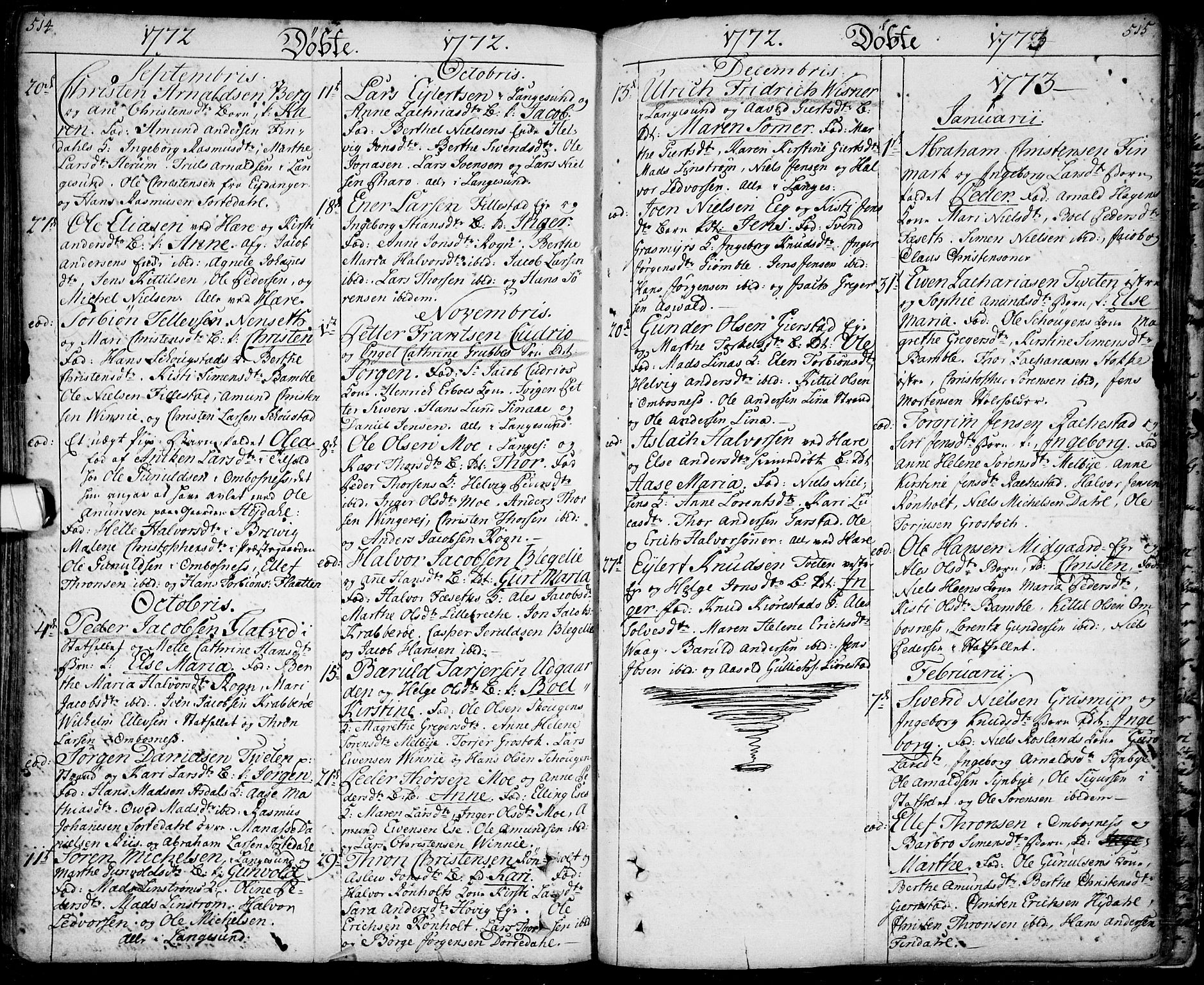SAKO, Bamble kirkebøker, F/Fa/L0001: Ministerialbok nr. I 1, 1702-1774, s. 514-515
