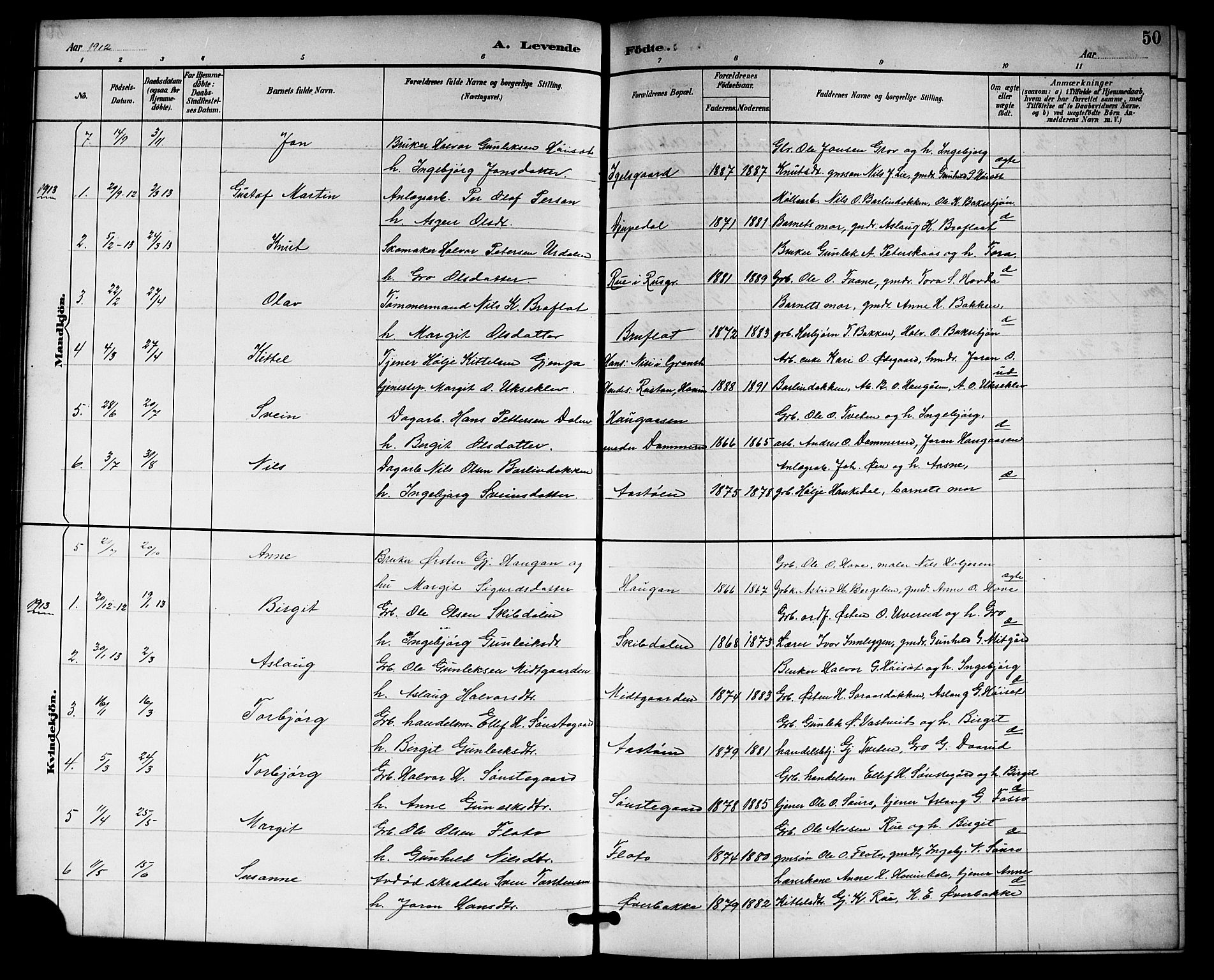 SAKO, Gransherad kirkebøker, G/Gb/L0003: Klokkerbok nr. II 3, 1887-1921, s. 50