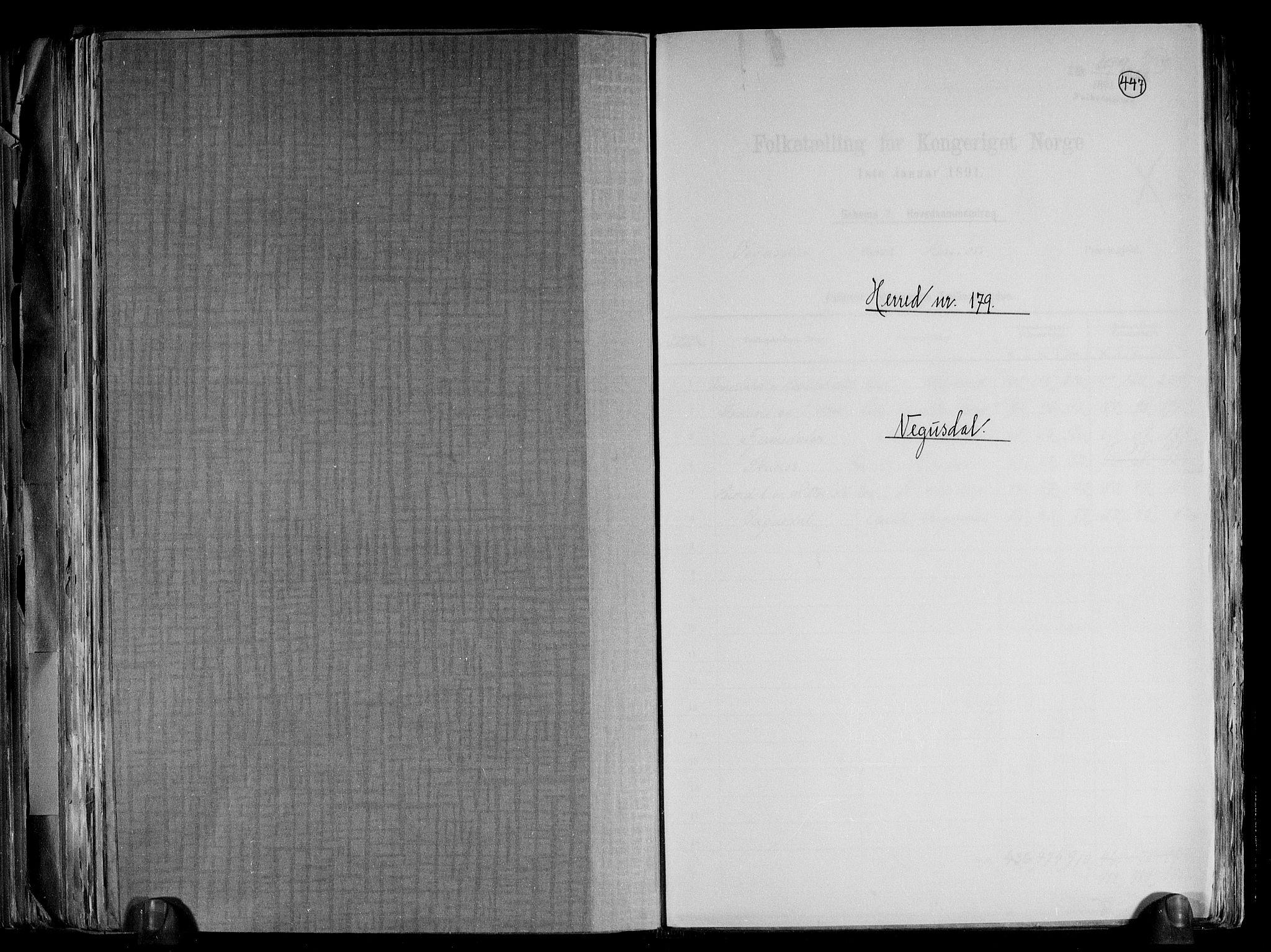RA, Folketelling 1891 for 0934 Vegusdal herred, 1891, s. 1