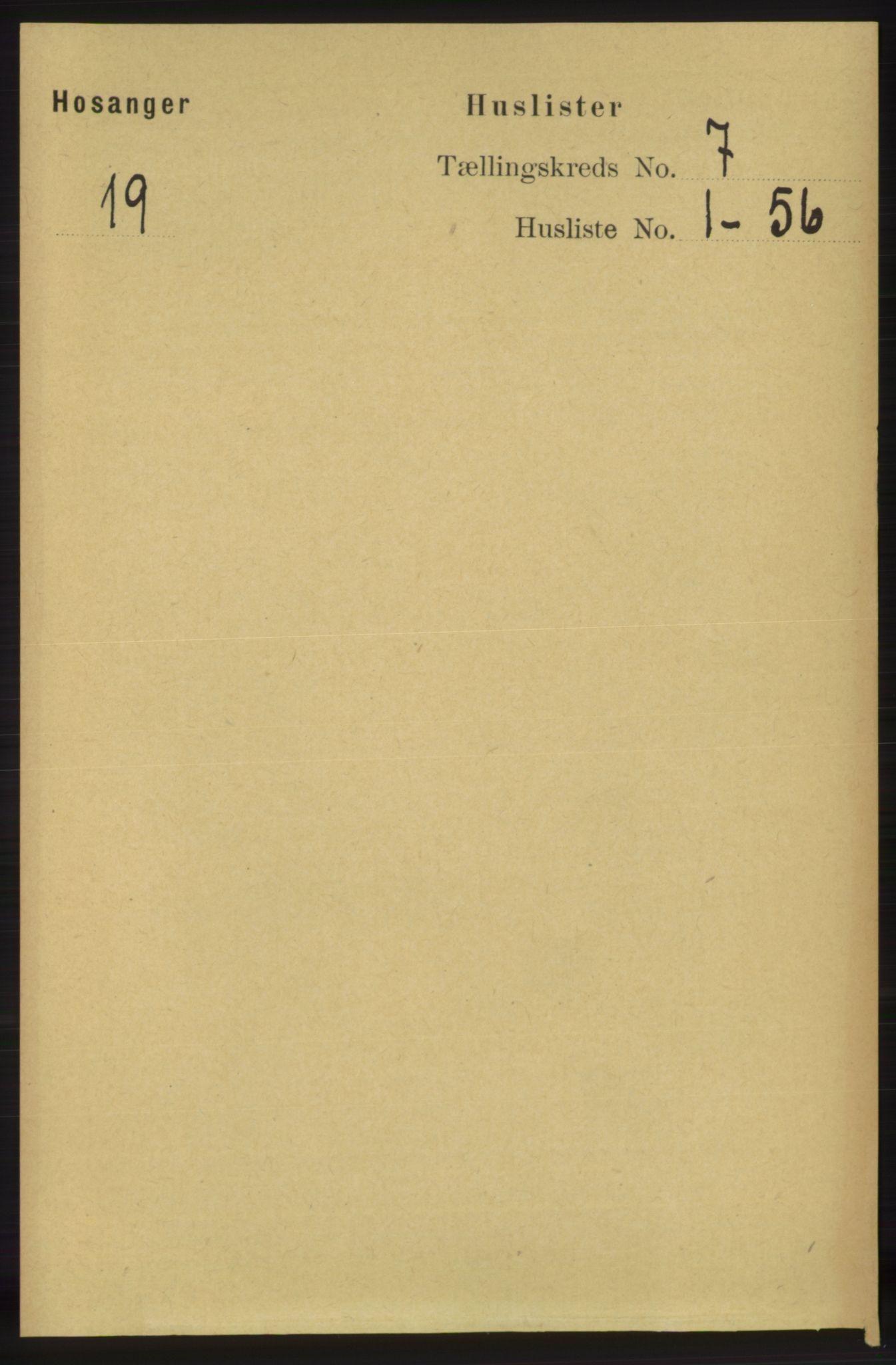RA, Folketelling 1891 for 1253 Hosanger herred, 1891, s. 2433