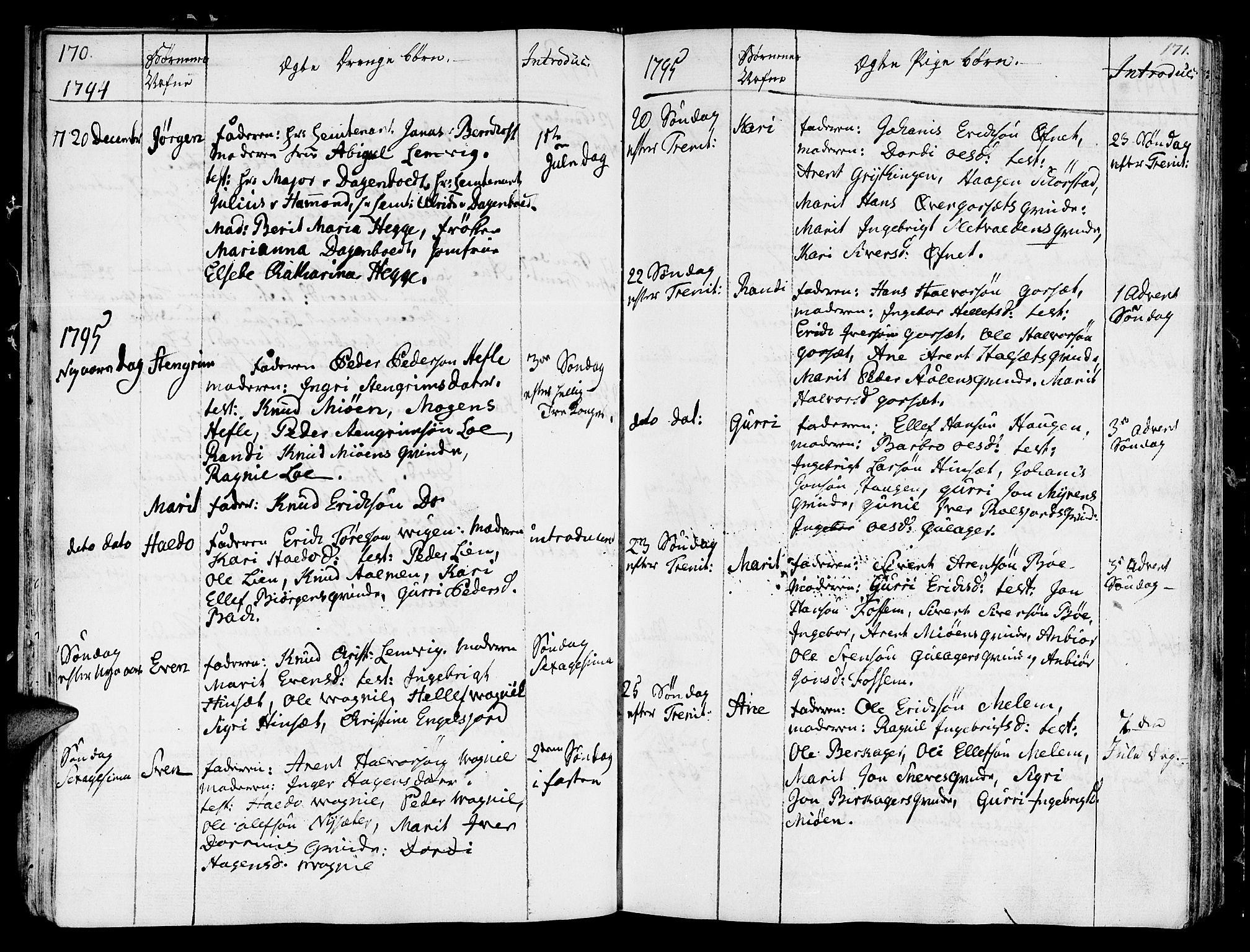 SAT, Ministerialprotokoller, klokkerbøker og fødselsregistre - Sør-Trøndelag, 678/L0893: Ministerialbok nr. 678A03, 1792-1805, s. 170-171