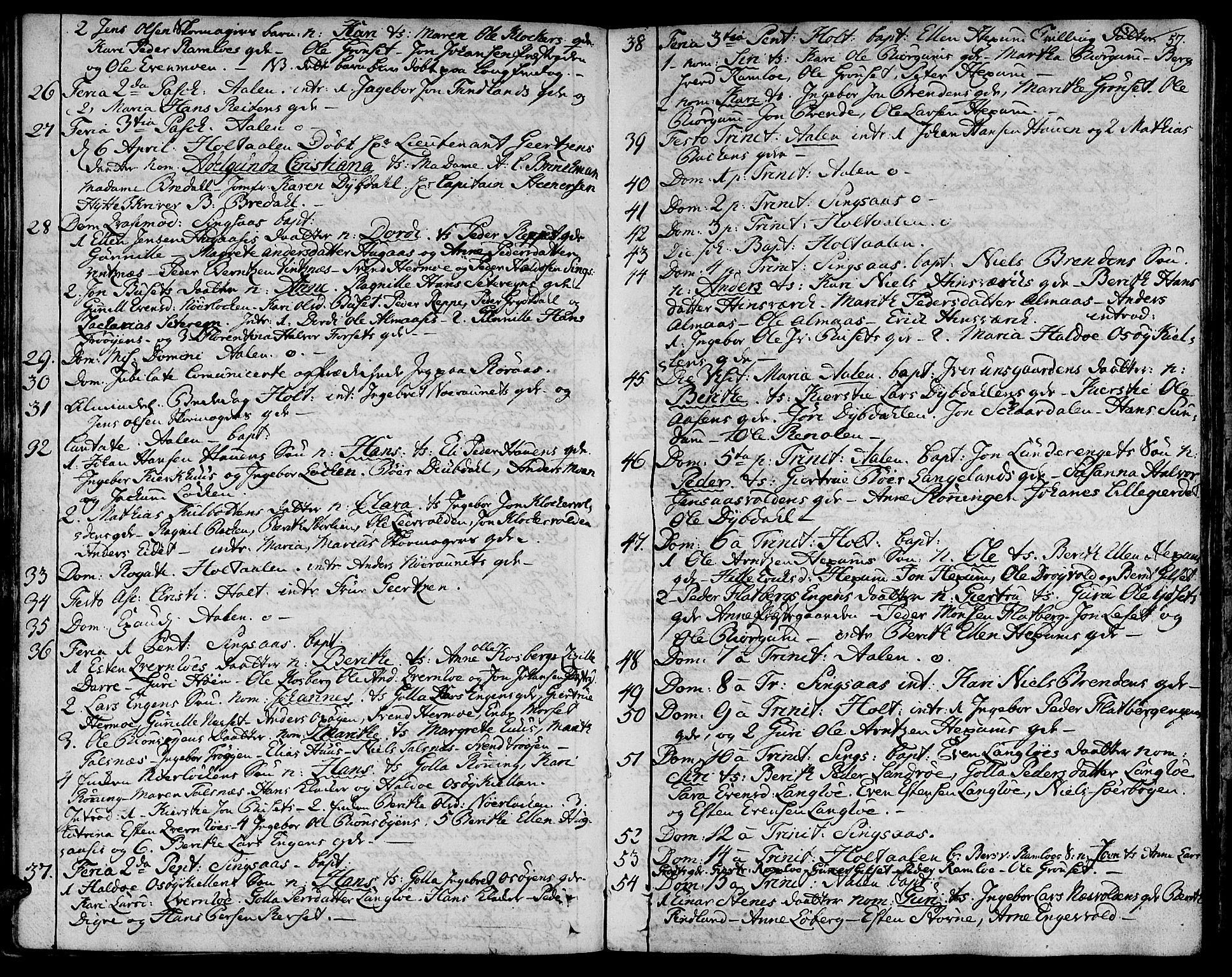 SAT, Ministerialprotokoller, klokkerbøker og fødselsregistre - Sør-Trøndelag, 685/L0952: Ministerialbok nr. 685A01, 1745-1804, s. 57