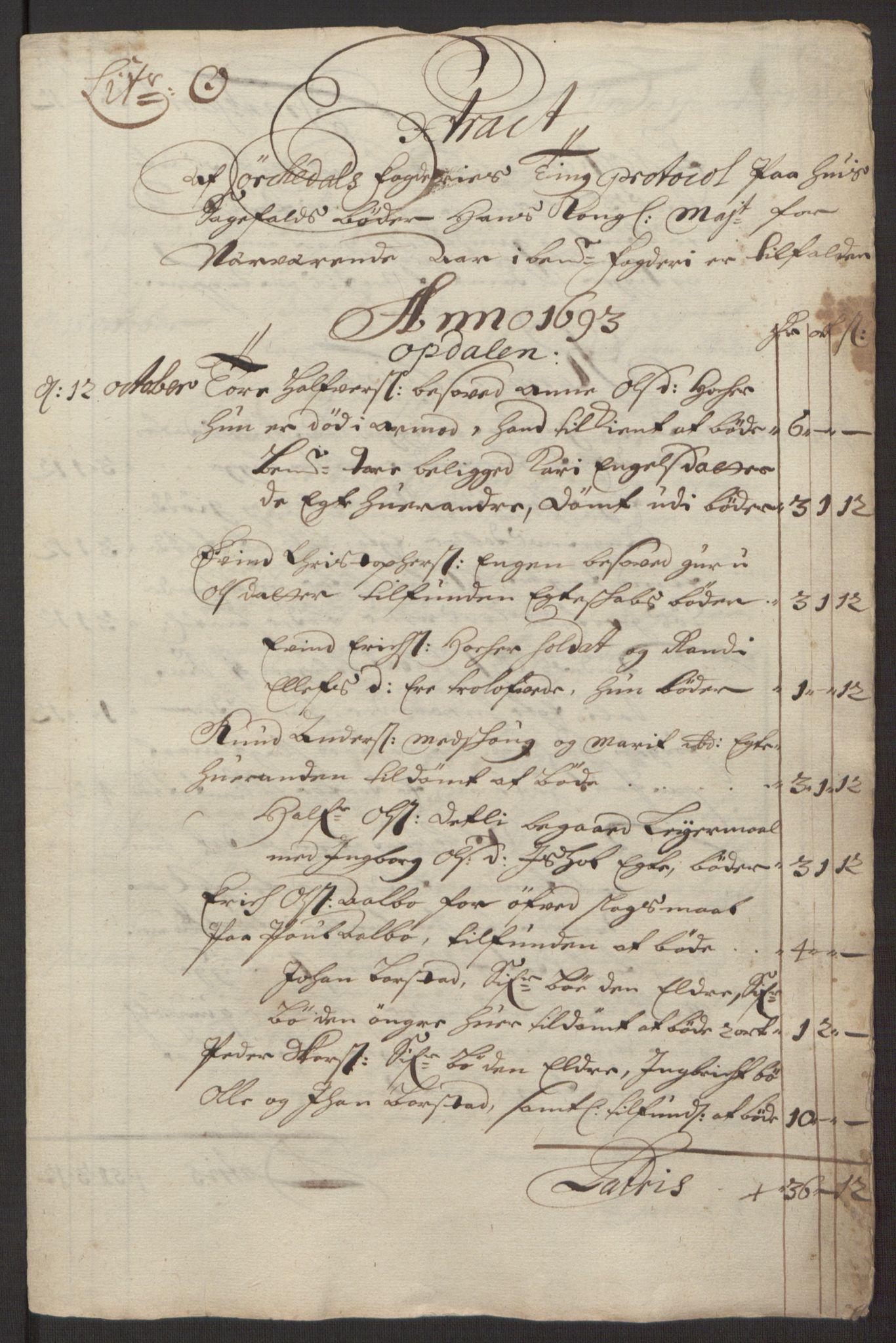 RA, Rentekammeret inntil 1814, Reviderte regnskaper, Fogderegnskap, R58/L3938: Fogderegnskap Orkdal, 1693, s. 173