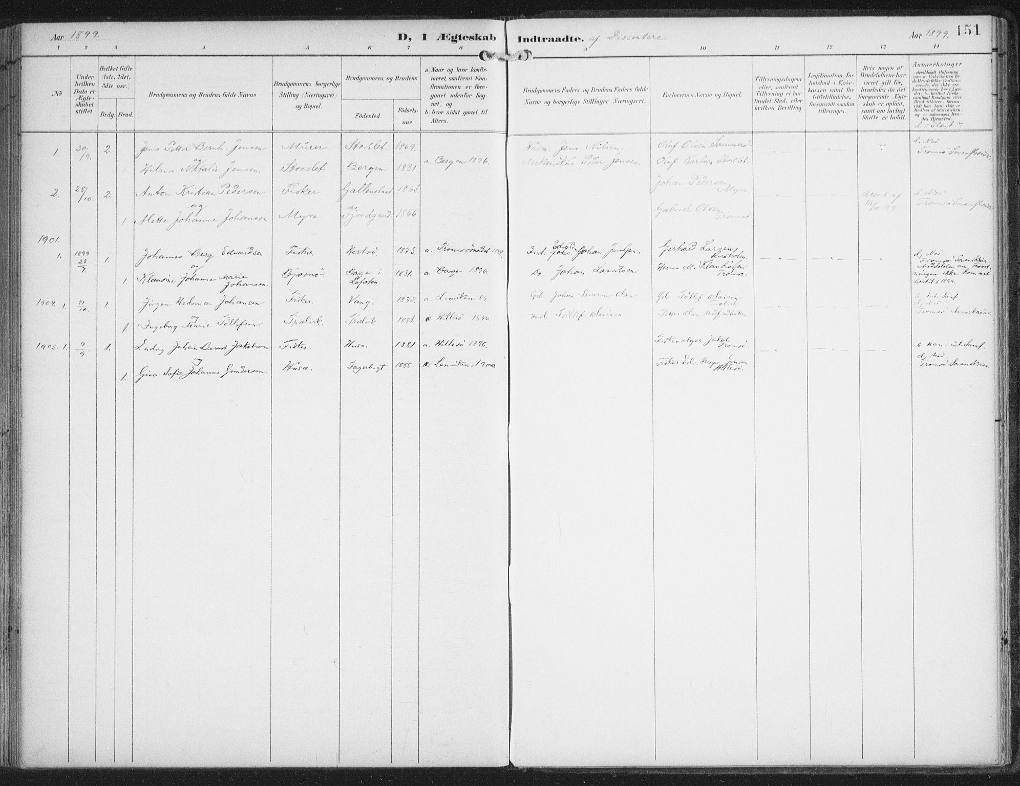 SATØ, Lenvik sokneprestembete, H/Ha: Ministerialbok nr. 15, 1896-1915, s. 151