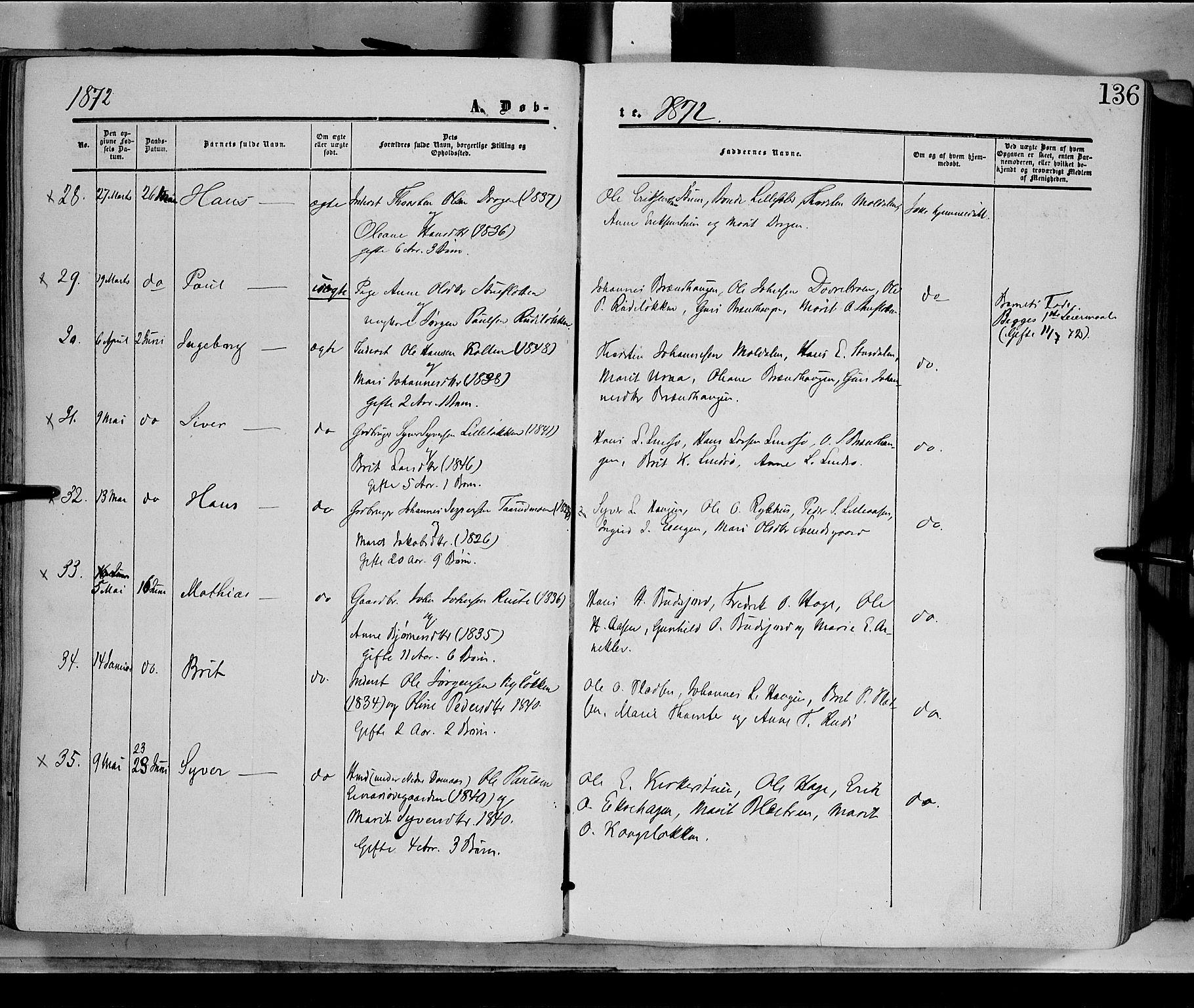 SAH, Dovre prestekontor, Ministerialbok nr. 1, 1854-1878, s. 136