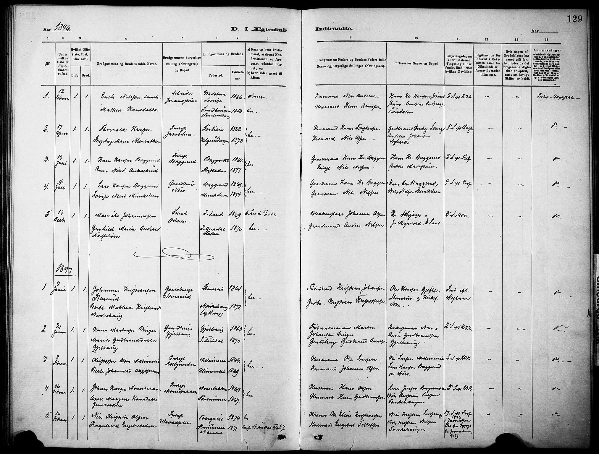 SAH, Nordre Land prestekontor, Ministerialbok nr. 5, 1882-1903, s. 129
