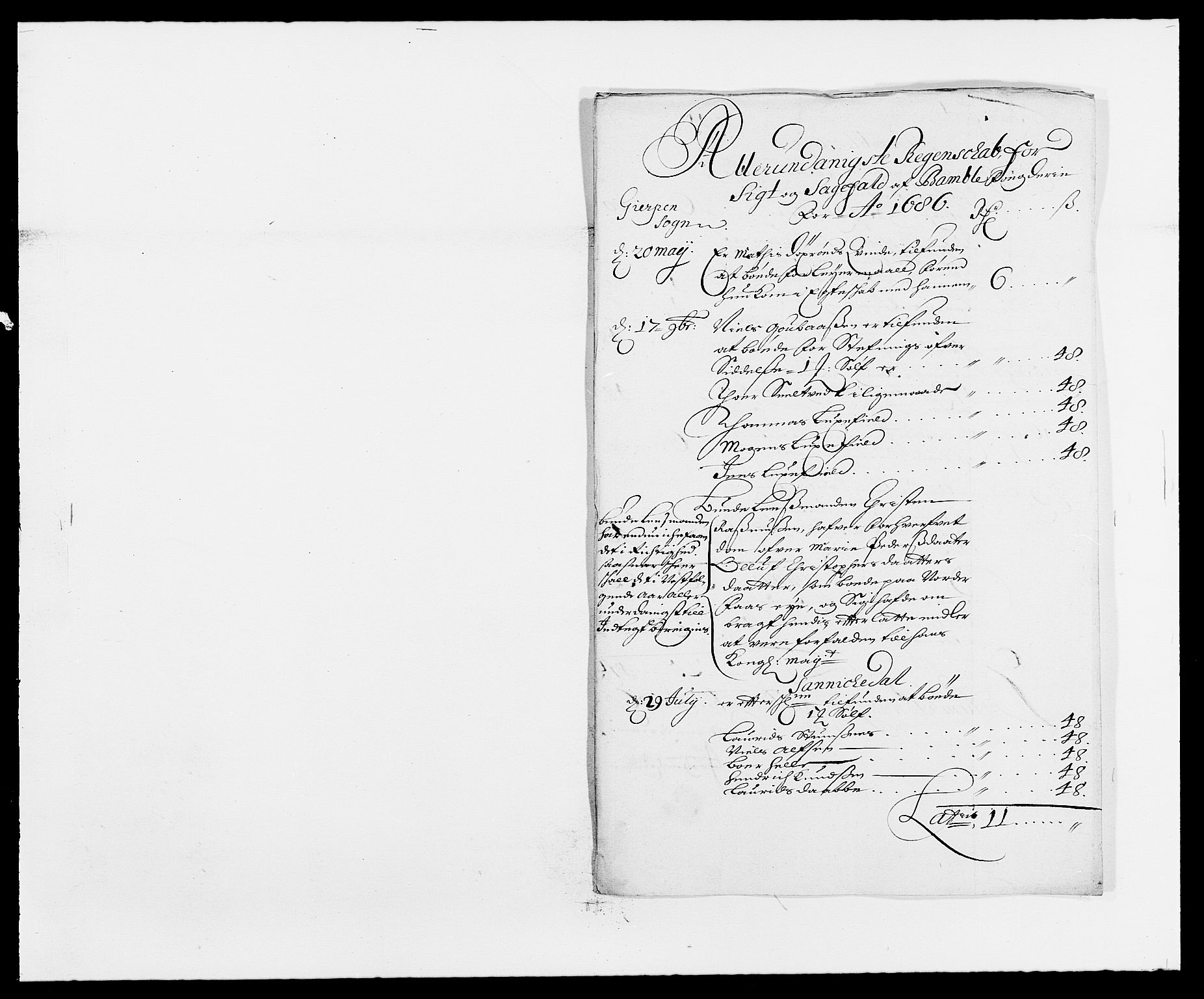 RA, Rentekammeret inntil 1814, Reviderte regnskaper, Fogderegnskap, R34/L2049: Fogderegnskap Bamble, 1685-1687, s. 20