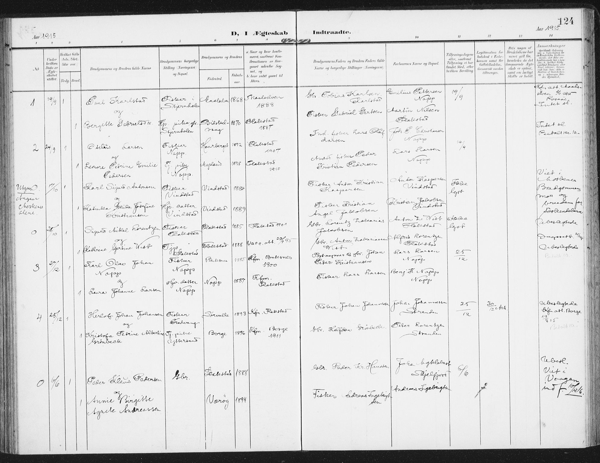 SAT, Ministerialprotokoller, klokkerbøker og fødselsregistre - Nordland, 885/L1206: Ministerialbok nr. 885A07, 1905-1915, s. 124