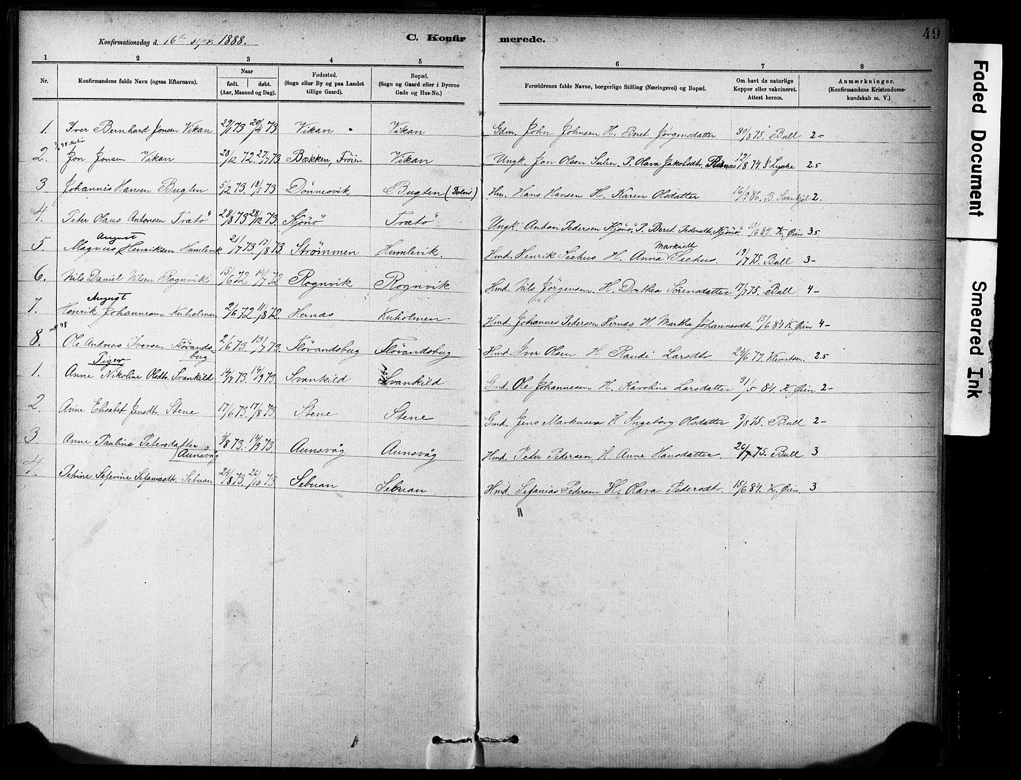 SAT, Ministerialprotokoller, klokkerbøker og fødselsregistre - Sør-Trøndelag, 635/L0551: Ministerialbok nr. 635A01, 1882-1899, s. 49