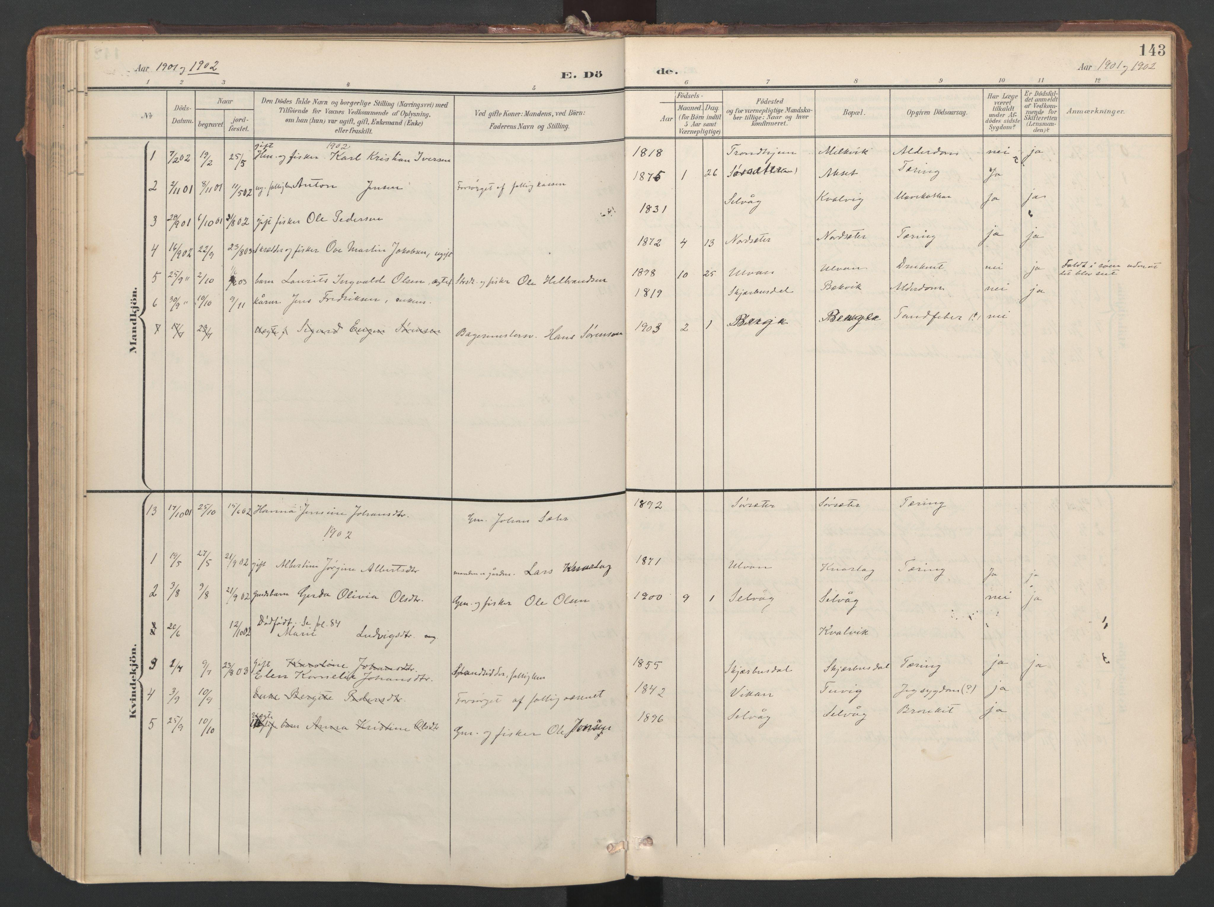 SAT, Ministerialprotokoller, klokkerbøker og fødselsregistre - Sør-Trøndelag, 638/L0568: Ministerialbok nr. 638A01, 1901-1916, s. 143