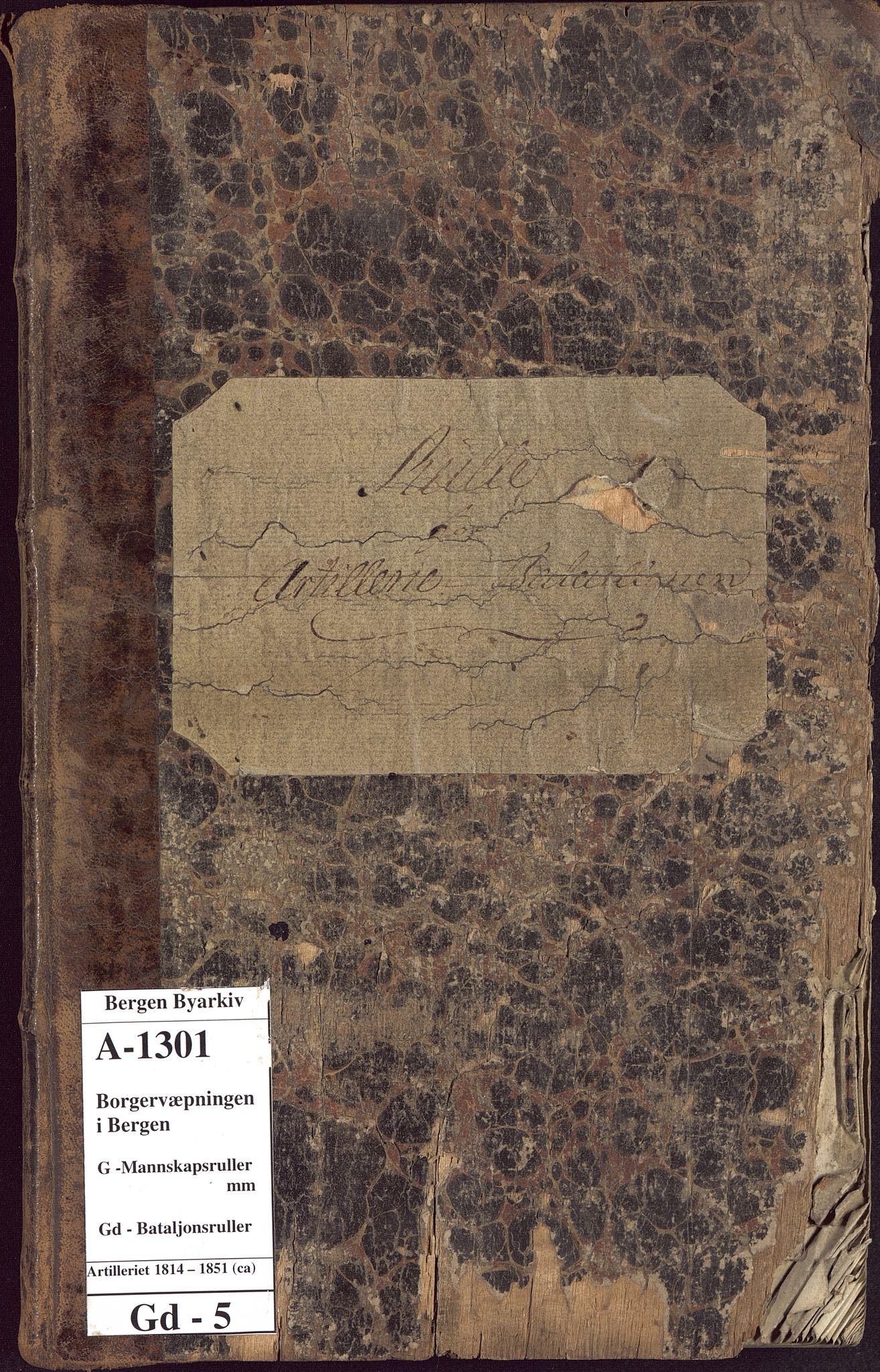 BBA, Borgervæpningen i Bergen, G/Gd/L0005: Artilleriet, 1814-1851