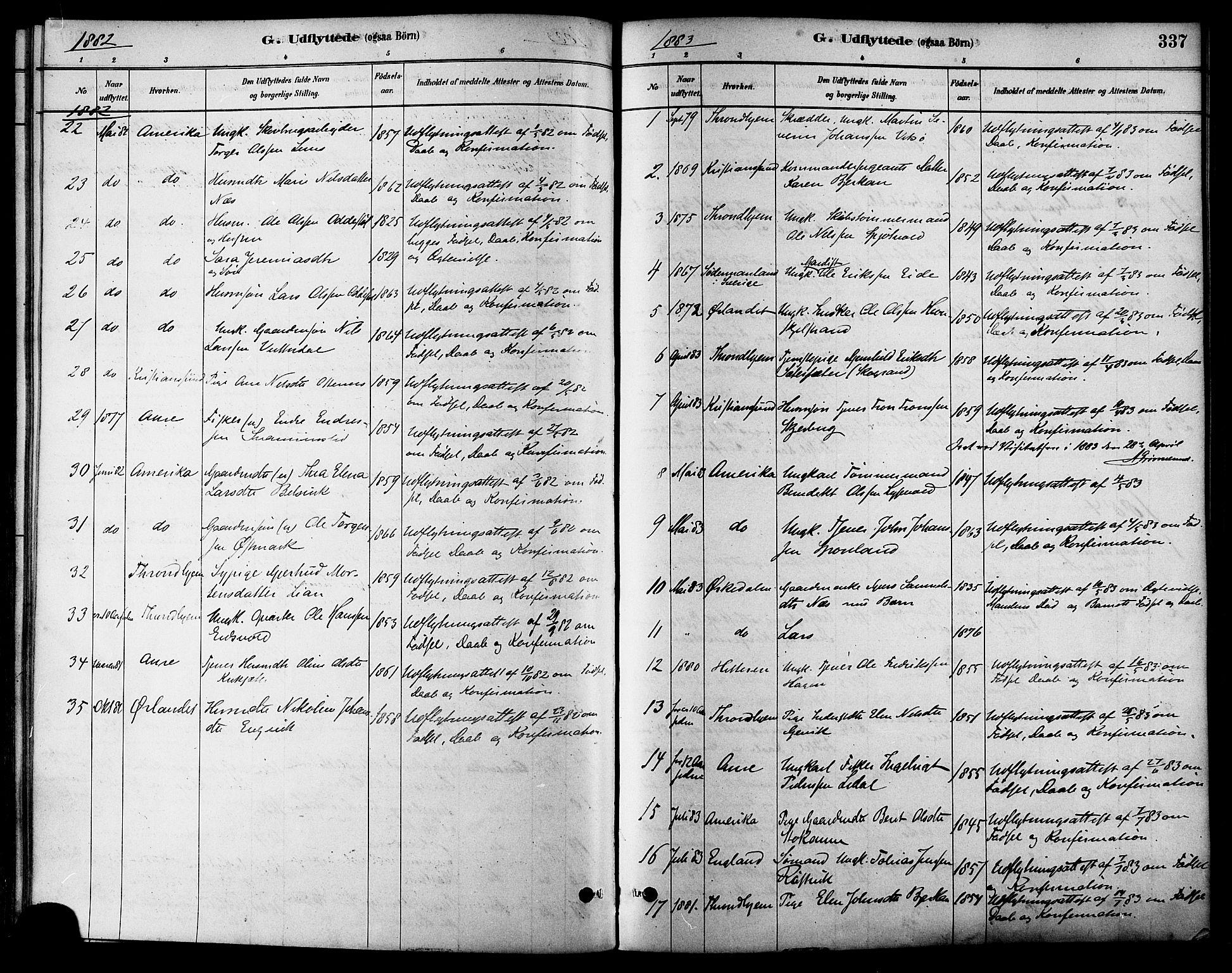 SAT, Ministerialprotokoller, klokkerbøker og fødselsregistre - Sør-Trøndelag, 630/L0496: Ministerialbok nr. 630A09, 1879-1895, s. 337