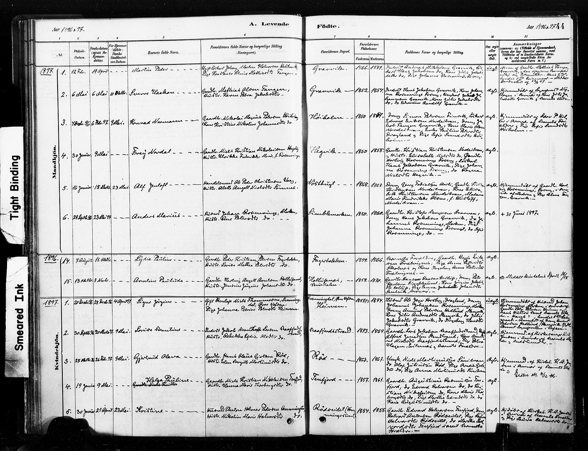 SAT, Ministerialprotokoller, klokkerbøker og fødselsregistre - Nord-Trøndelag, 789/L0705: Ministerialbok nr. 789A01, 1878-1910, s. 44