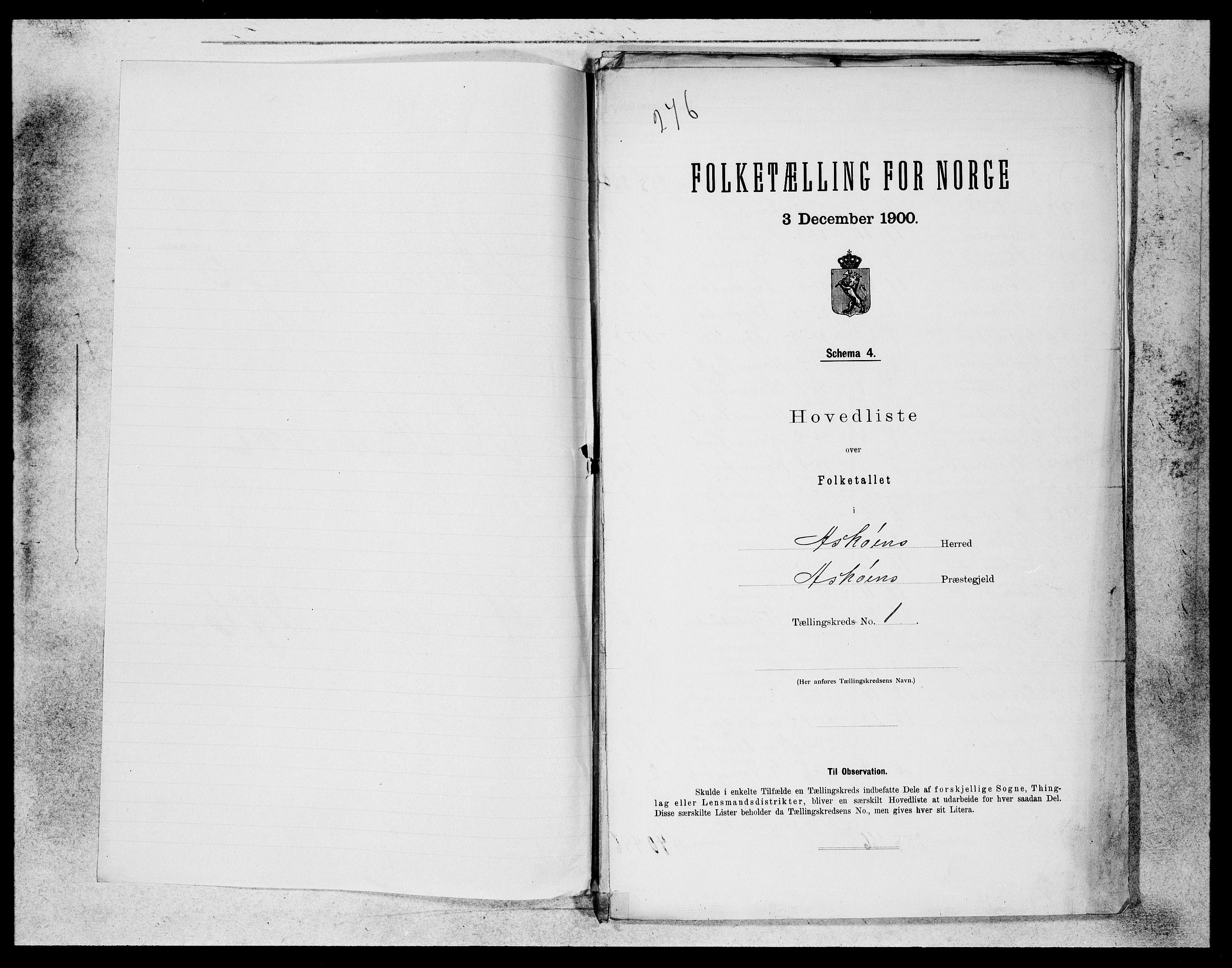 SAB, Folketelling 1900 for 1247 Askøy herred, 1900, s. 1