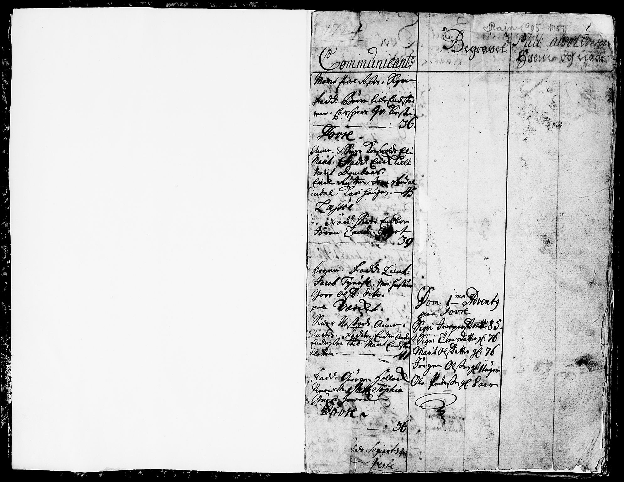 SAH, Lesja prestekontor, Ministerialbok nr. 1, 1724-1731, s. 1