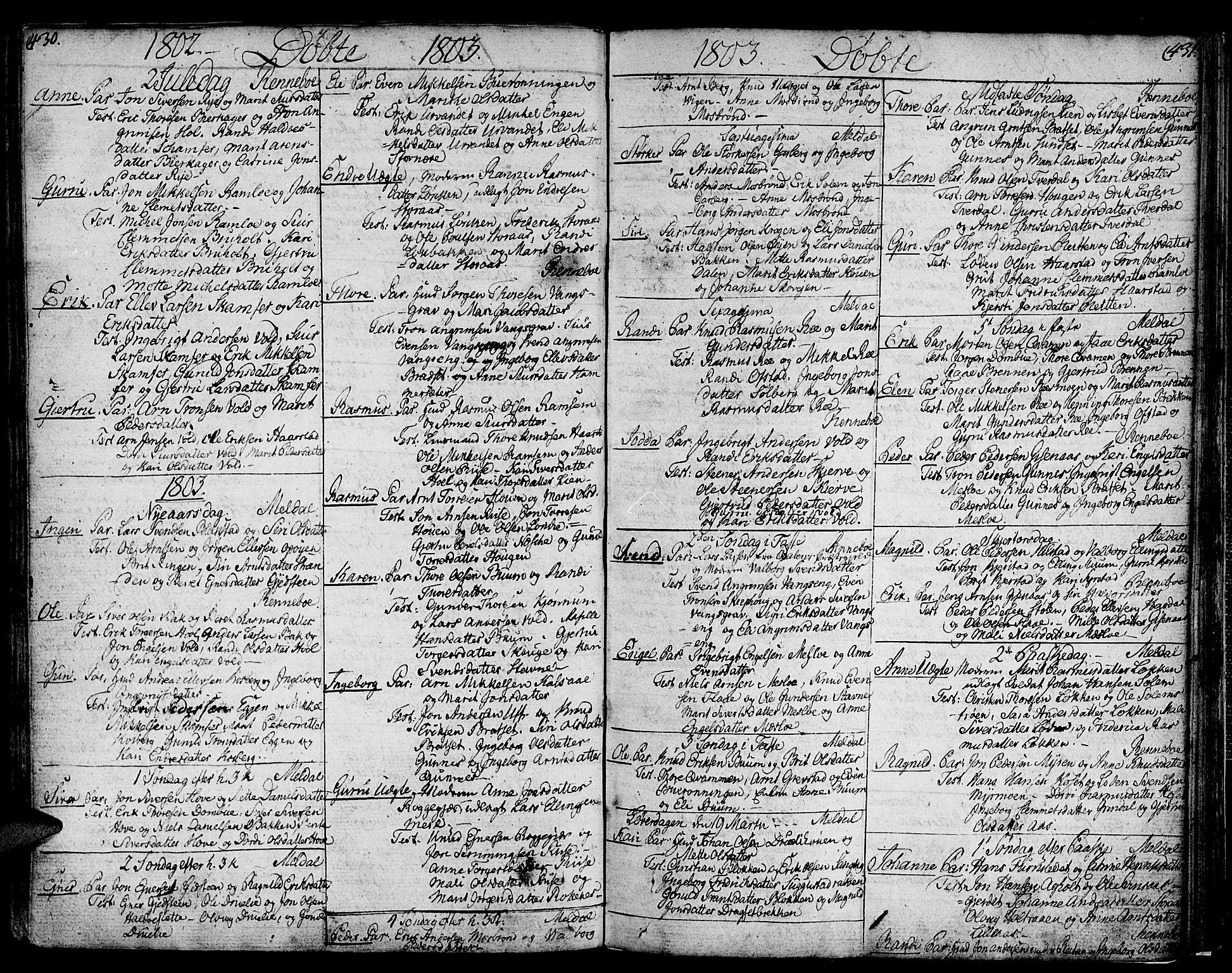 SAT, Ministerialprotokoller, klokkerbøker og fødselsregistre - Sør-Trøndelag, 672/L0852: Ministerialbok nr. 672A05, 1776-1815, s. 430-431
