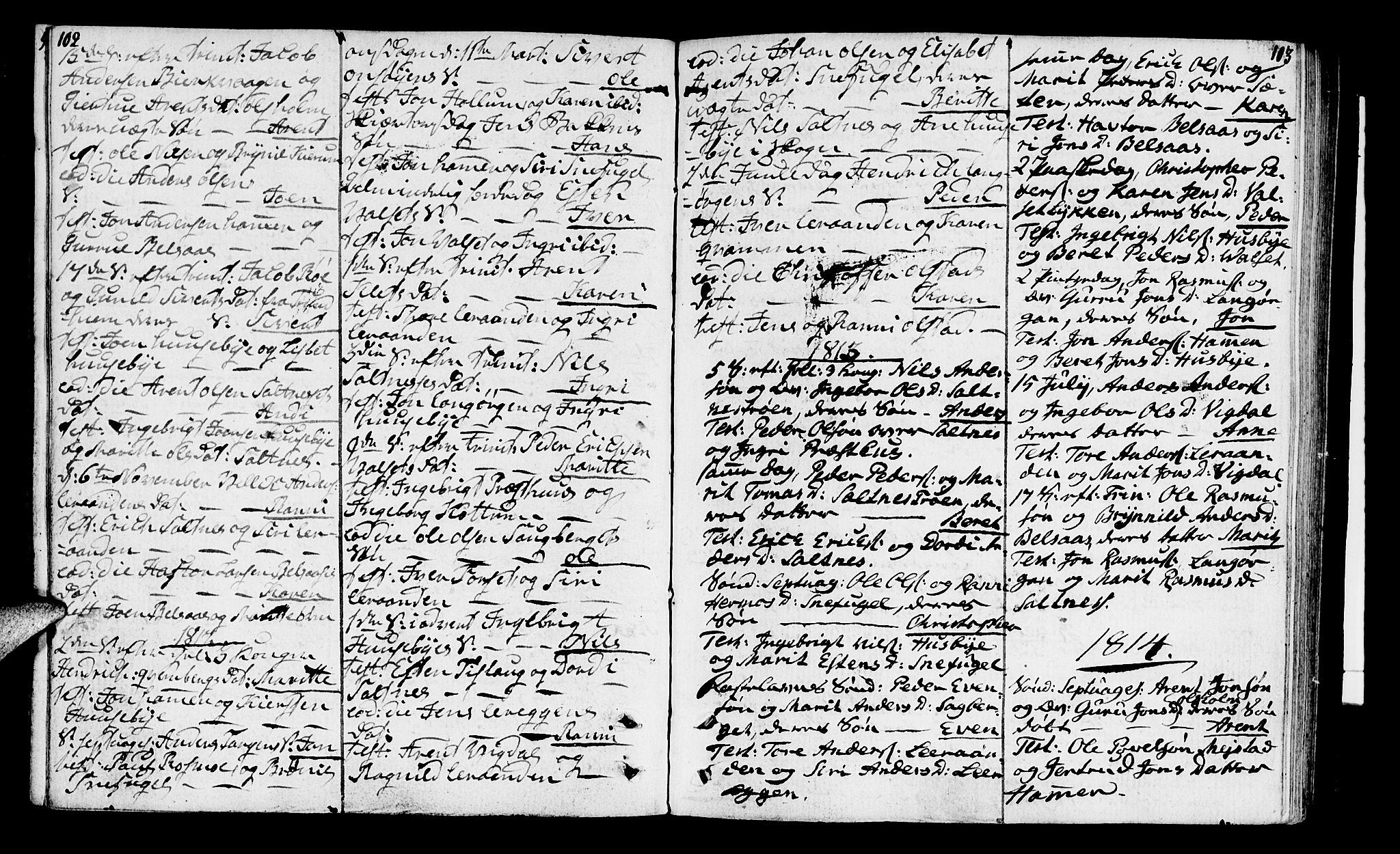SAT, Ministerialprotokoller, klokkerbøker og fødselsregistre - Sør-Trøndelag, 666/L0785: Ministerialbok nr. 666A03, 1803-1816, s. 102-103