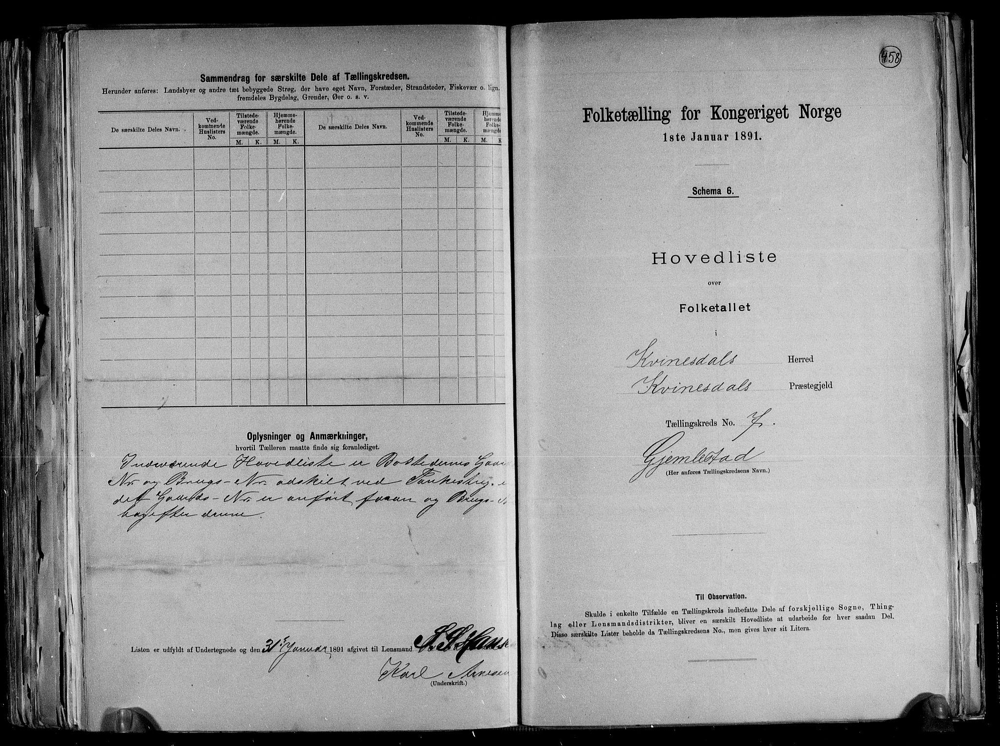 RA, Folketelling 1891 for 1037 Kvinesdal herred, 1891, s. 20