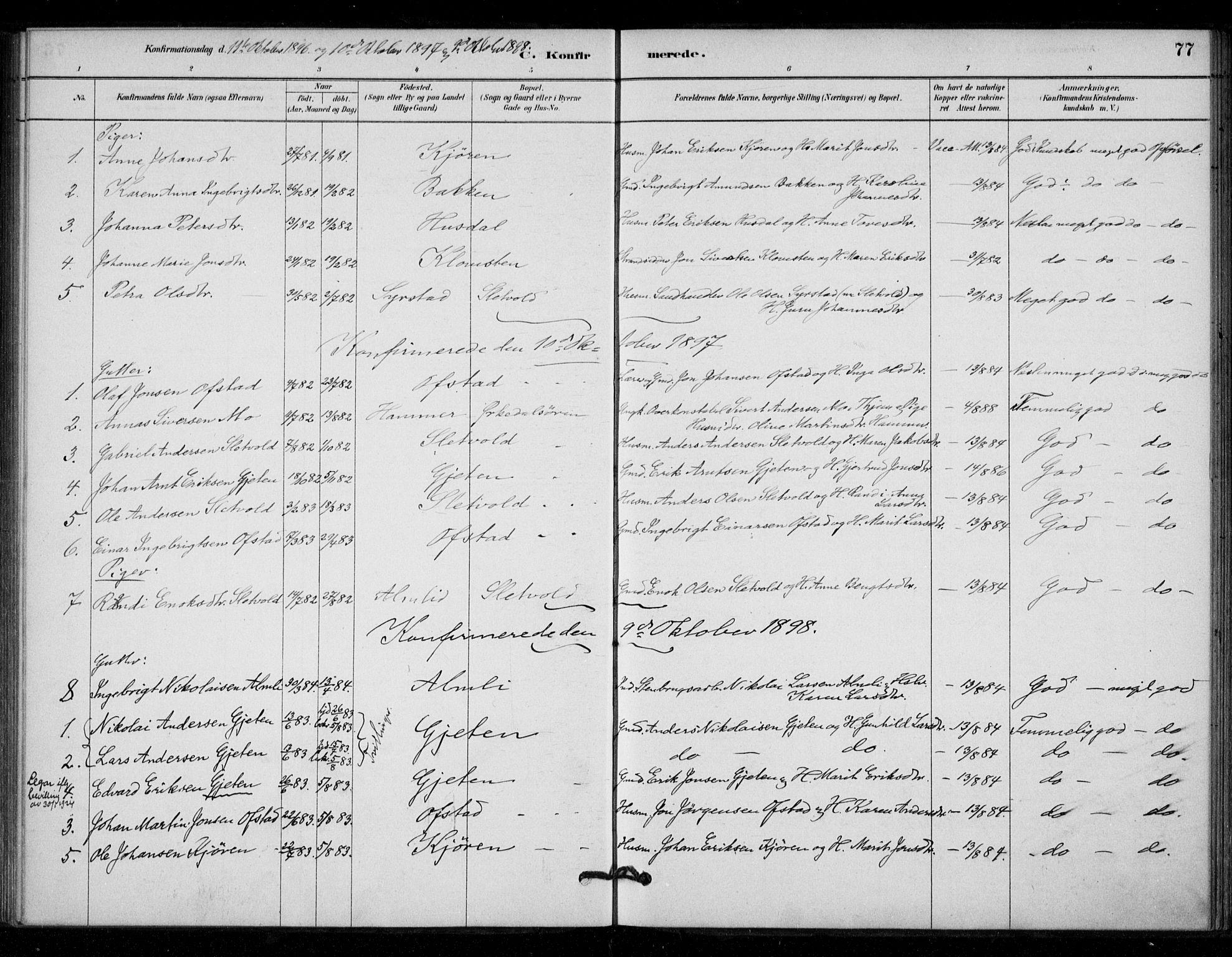 SAT, Ministerialprotokoller, klokkerbøker og fødselsregistre - Sør-Trøndelag, 670/L0836: Ministerialbok nr. 670A01, 1879-1904, s. 77