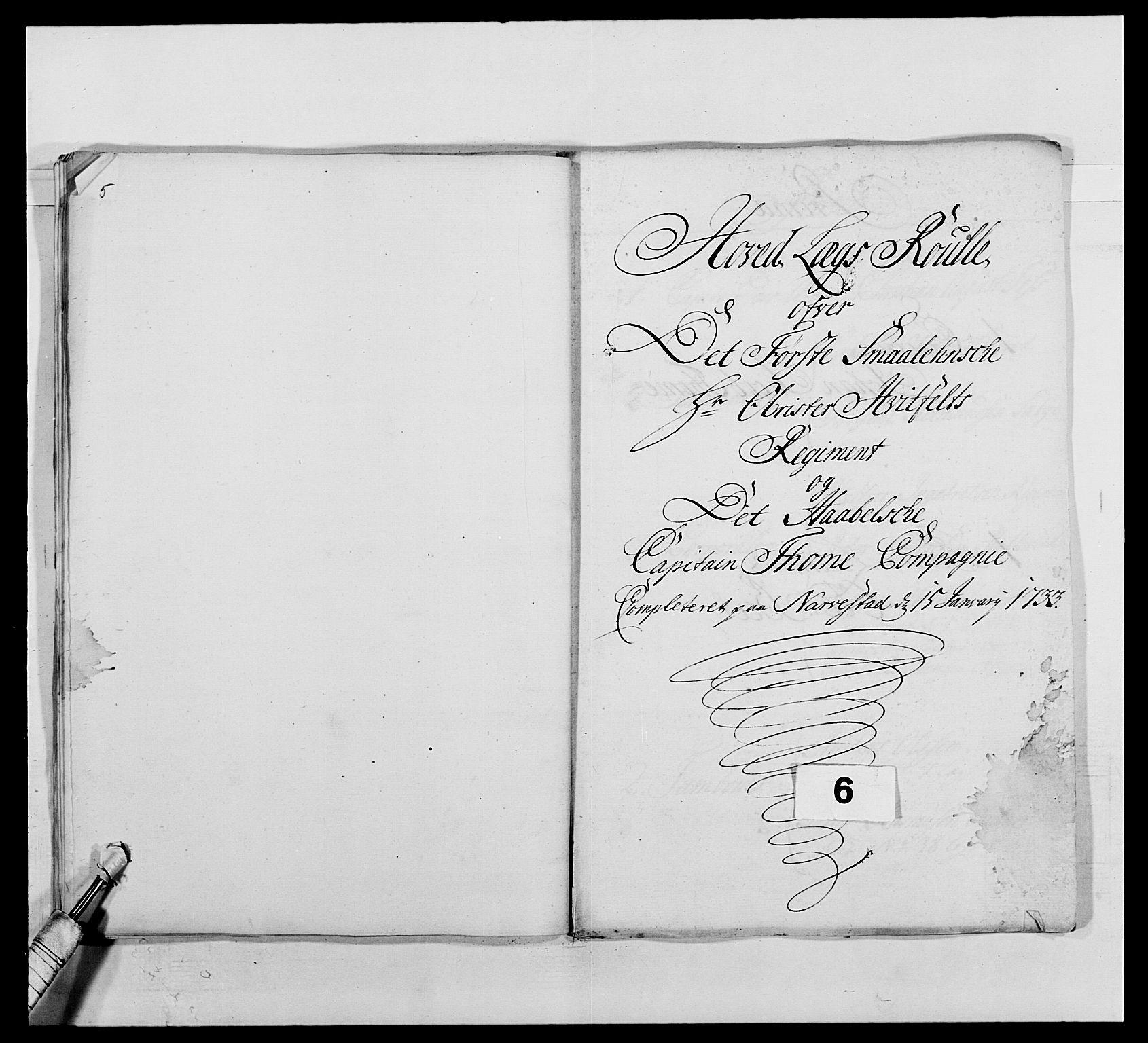 RA, Kommanderende general (KG I) med Det norske krigsdirektorium, E/Ea/L0495: 1. Smålenske regiment, 1732-1763, s. 62