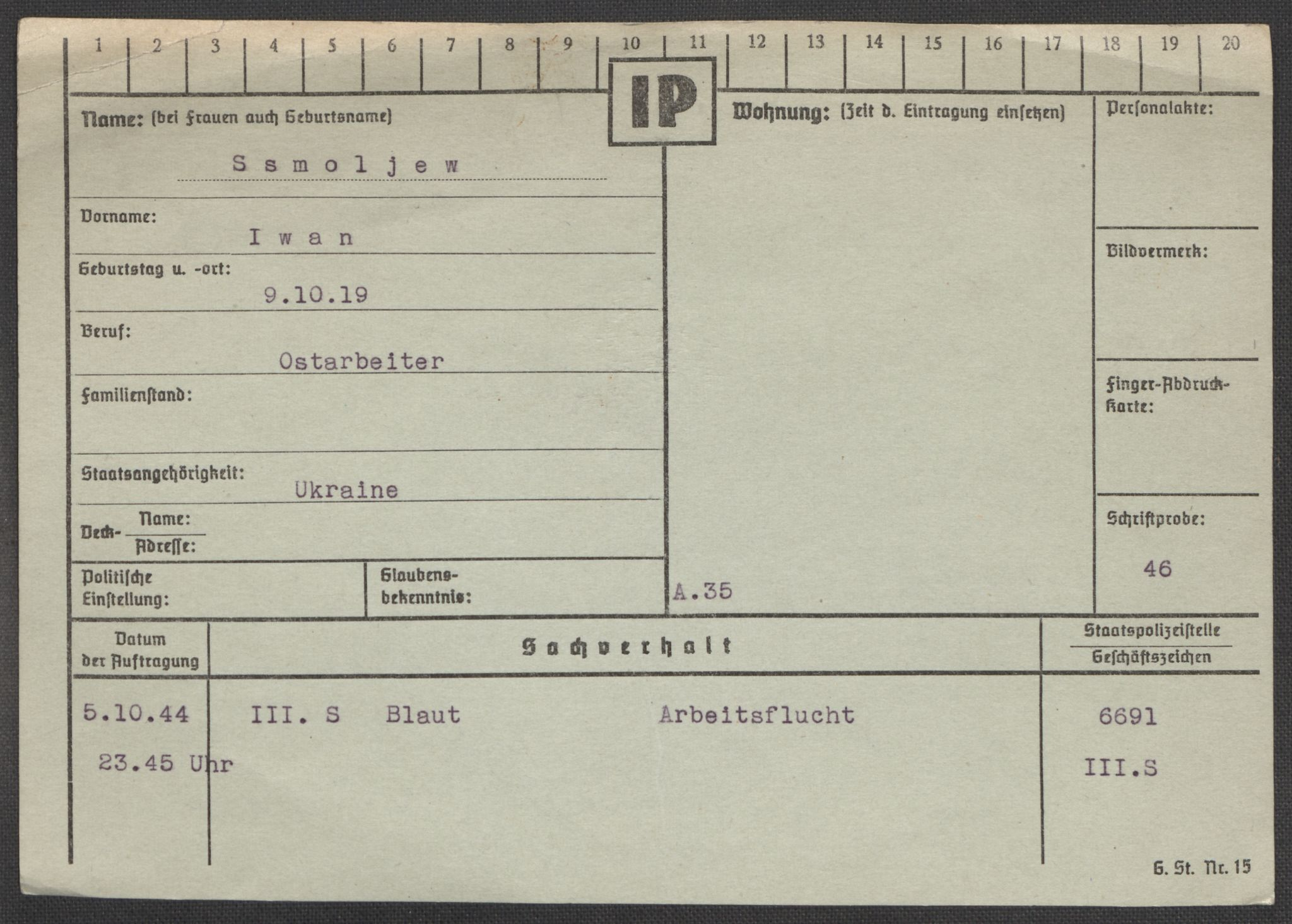 RA, Befehlshaber der Sicherheitspolizei und des SD, E/Ea/Eaa/L0009: Register over norske fanger i Møllergata 19: Ru-Sy, 1940-1945, s. 1098