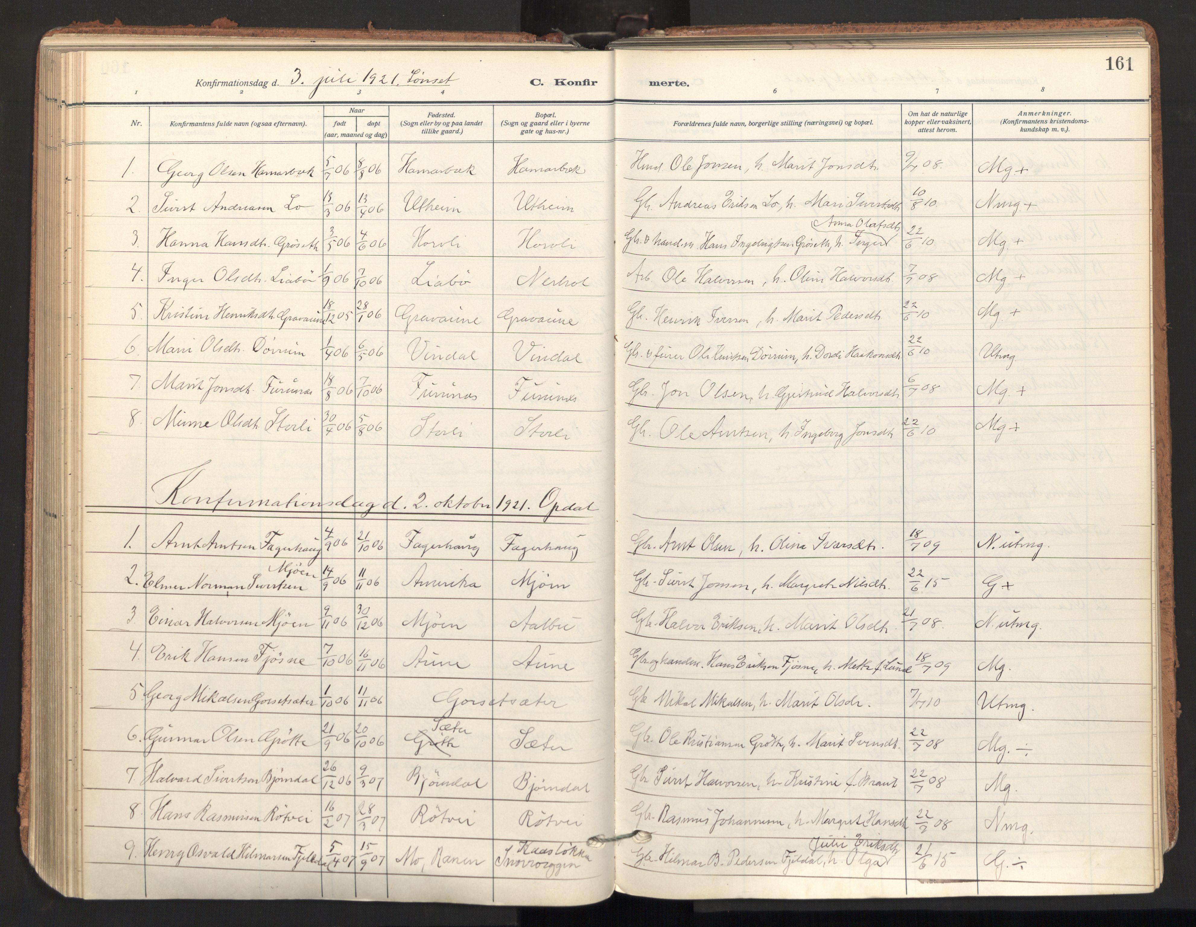 SAT, Ministerialprotokoller, klokkerbøker og fødselsregistre - Sør-Trøndelag, 678/L0909: Ministerialbok nr. 678A17, 1912-1930, s. 161