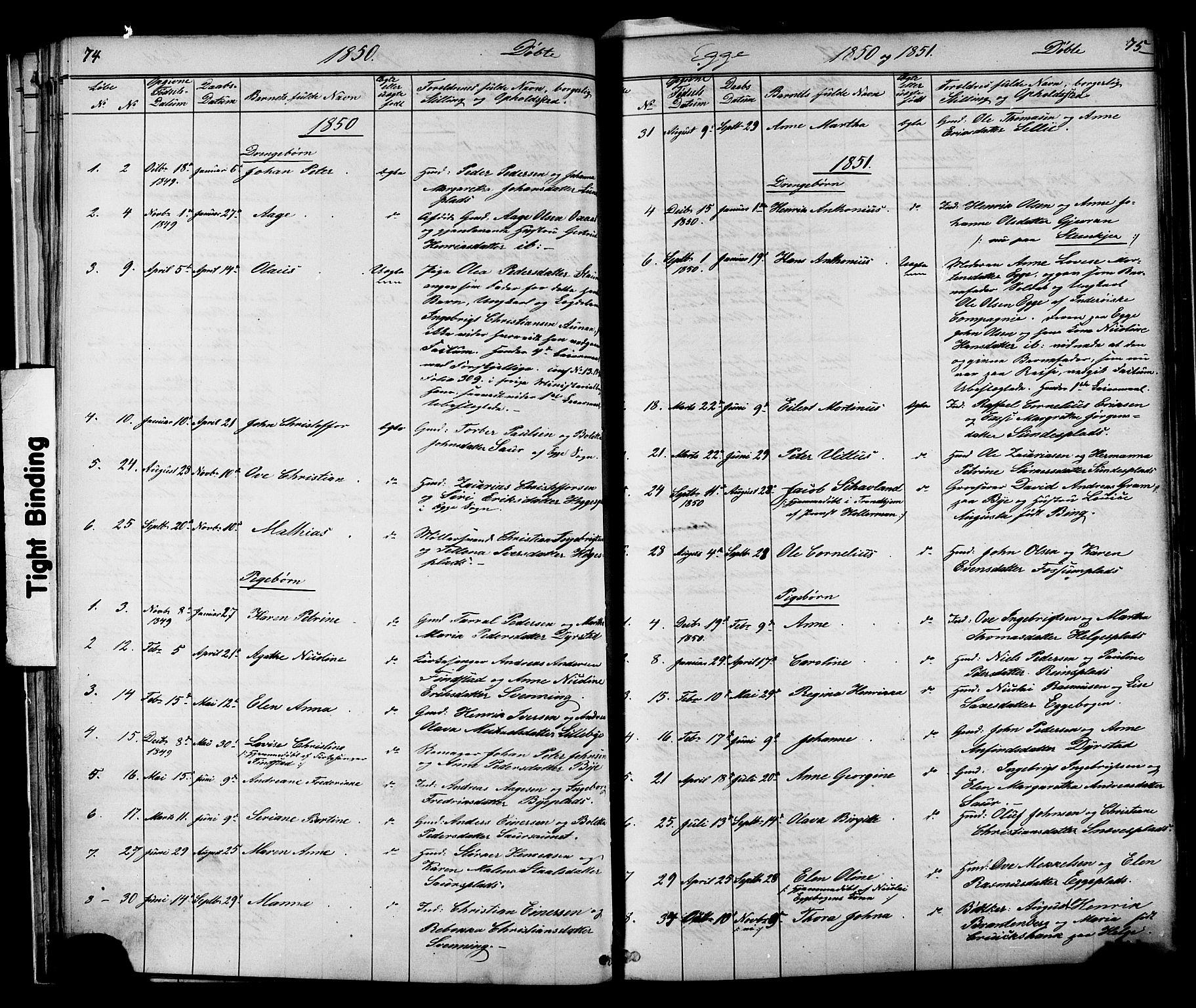 SAT, Ministerialprotokoller, klokkerbøker og fødselsregistre - Nord-Trøndelag, 739/L0367: Ministerialbok nr. 739A01 /3, 1838-1868, s. 74-75