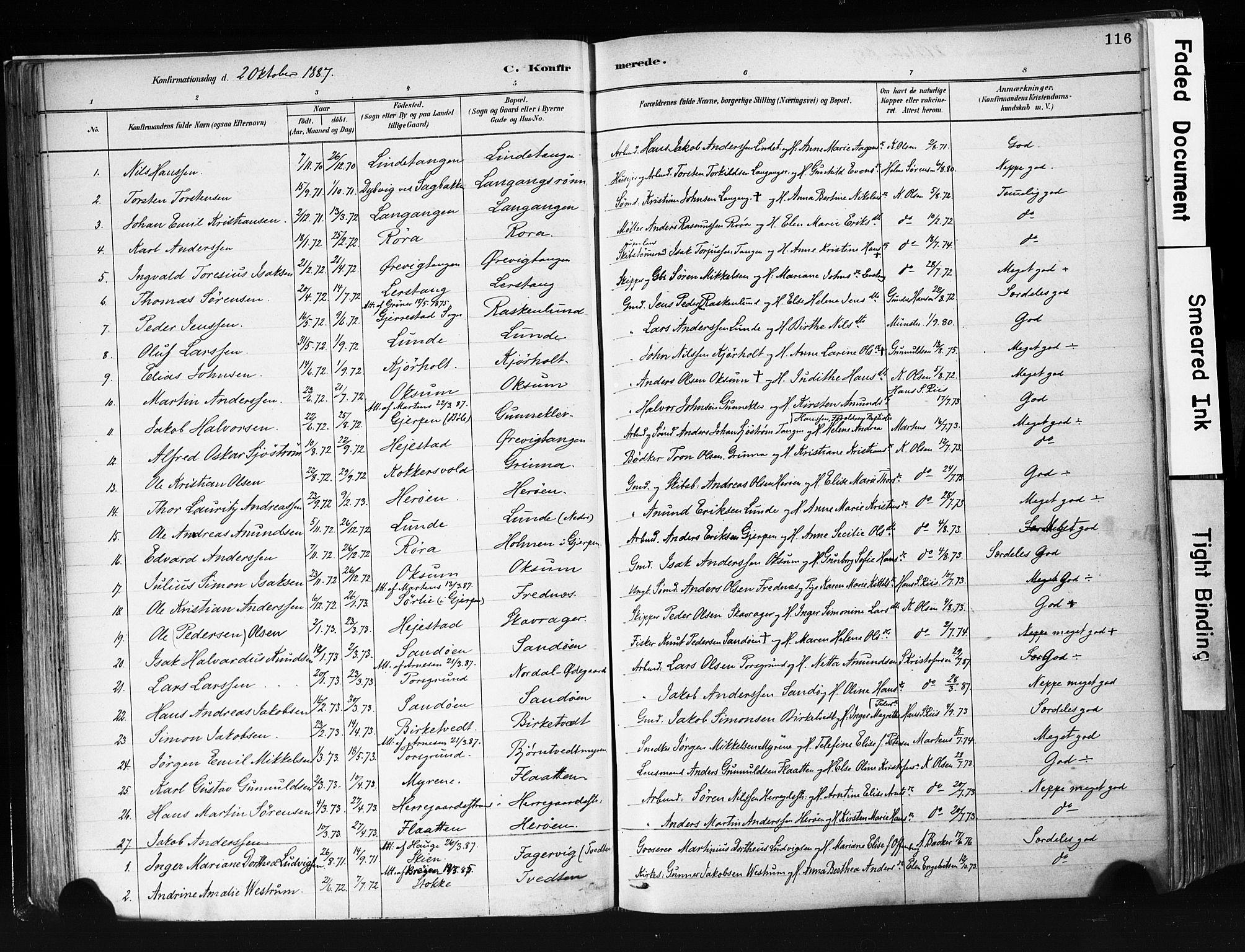 SAKO, Eidanger kirkebøker, F/Fa/L0012: Ministerialbok nr. 12, 1879-1900, s. 116