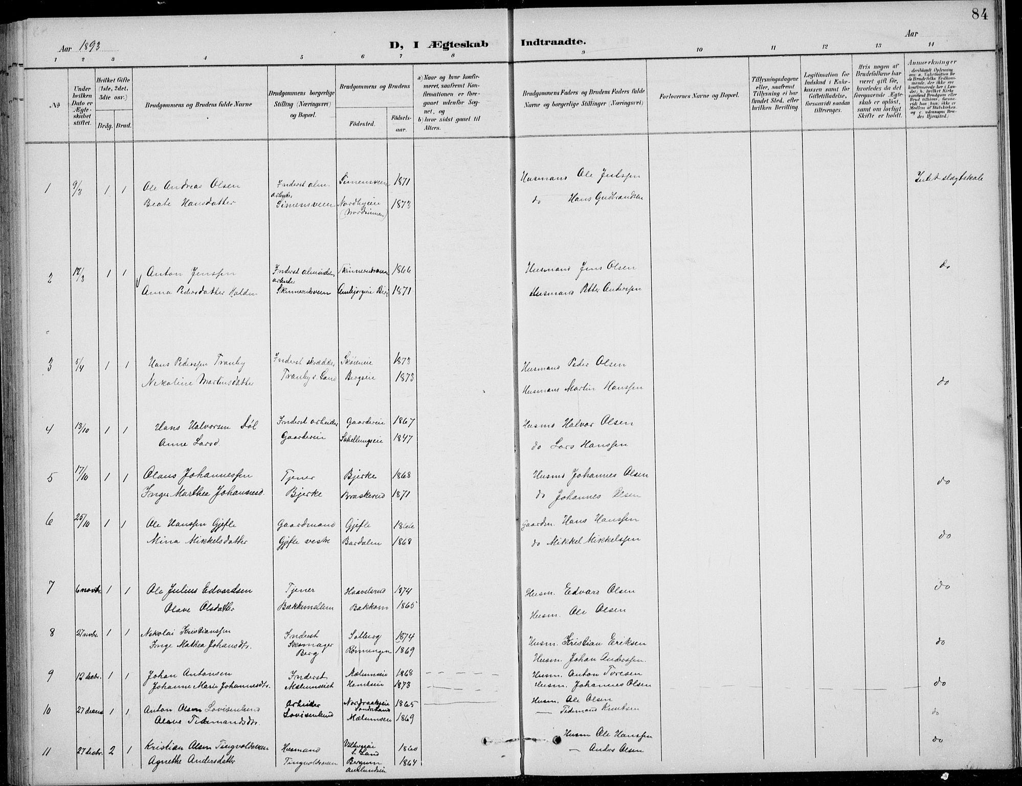 SAH, Nordre Land prestekontor, Klokkerbok nr. 14, 1891-1907, s. 84
