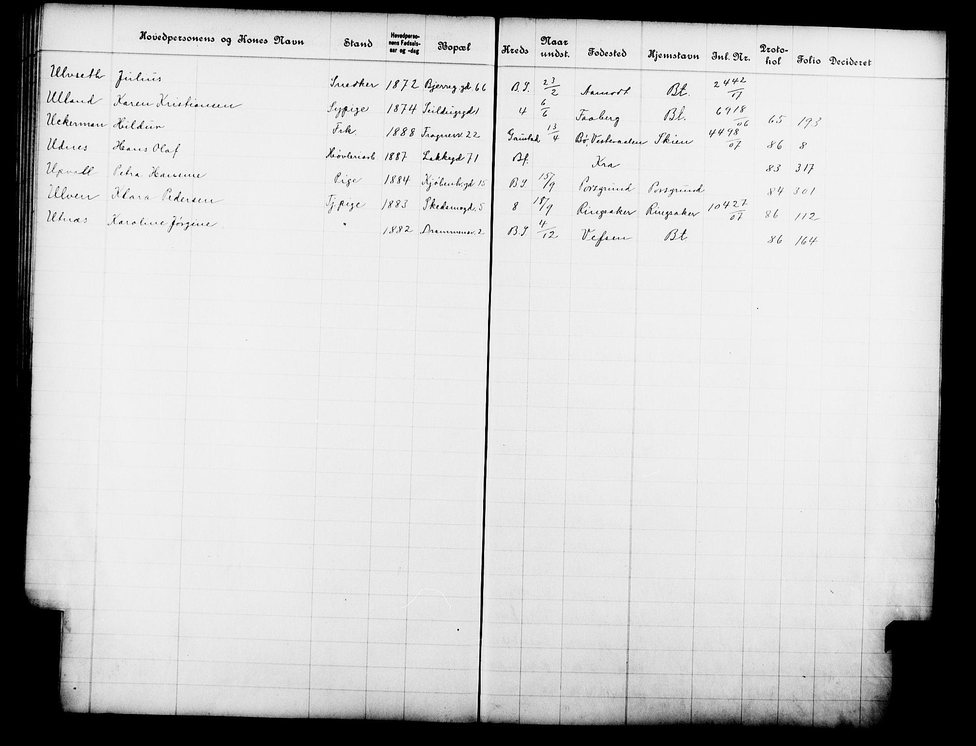 OBA, Fattigvesenet, Fb/L0026: Hjemstavnsregister, 1907, s. 202