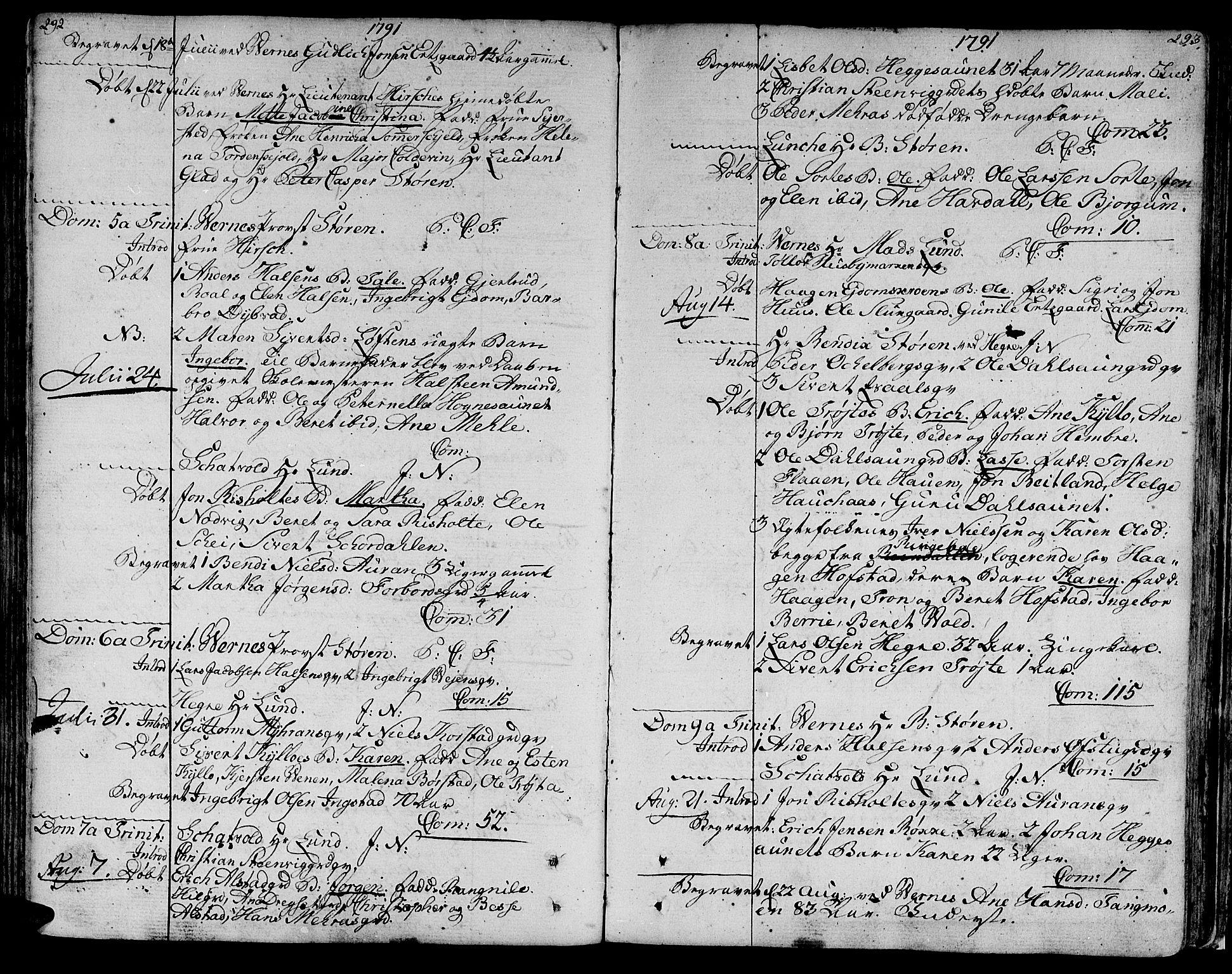 SAT, Ministerialprotokoller, klokkerbøker og fødselsregistre - Nord-Trøndelag, 709/L0059: Ministerialbok nr. 709A06, 1781-1797, s. 292-293