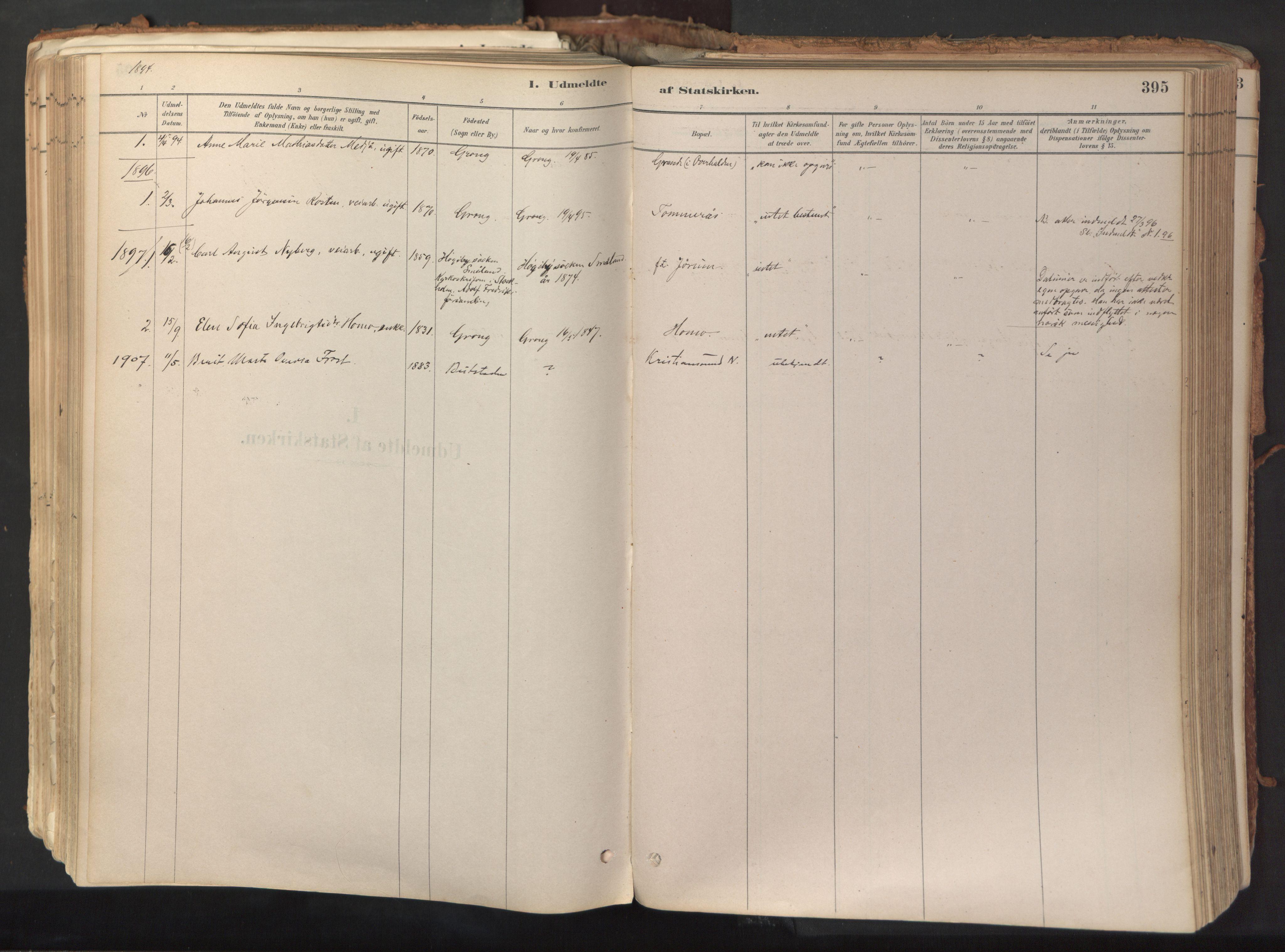 SAT, Ministerialprotokoller, klokkerbøker og fødselsregistre - Nord-Trøndelag, 758/L0519: Ministerialbok nr. 758A04, 1880-1926, s. 395