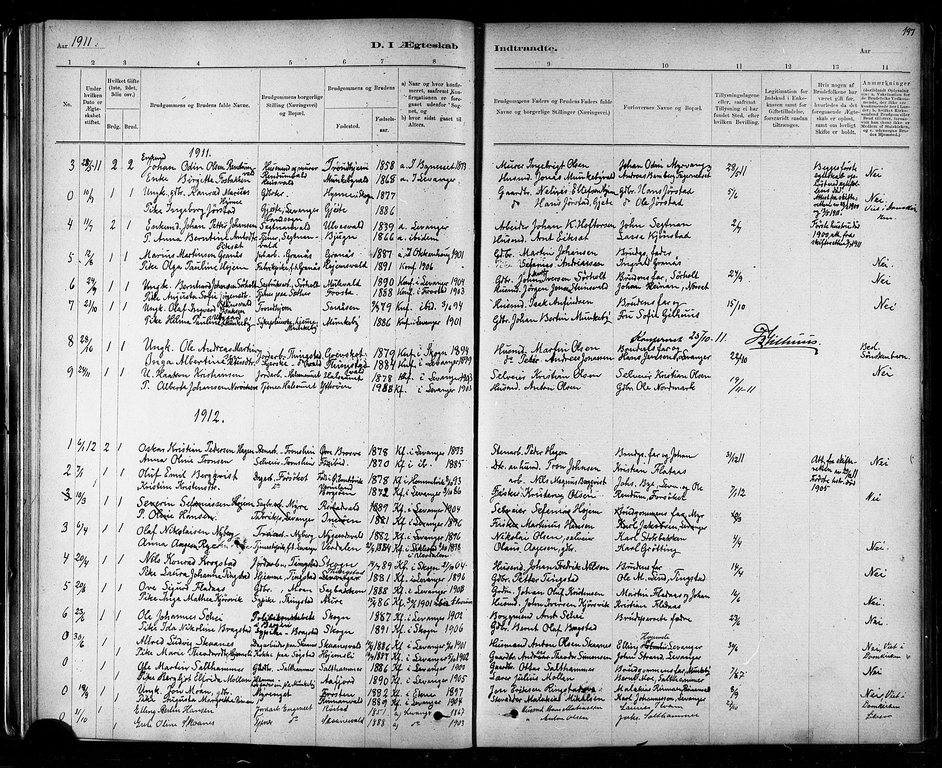 SAT, Ministerialprotokoller, klokkerbøker og fødselsregistre - Nord-Trøndelag, 721/L0208: Klokkerbok nr. 721C01, 1880-1917, s. 197