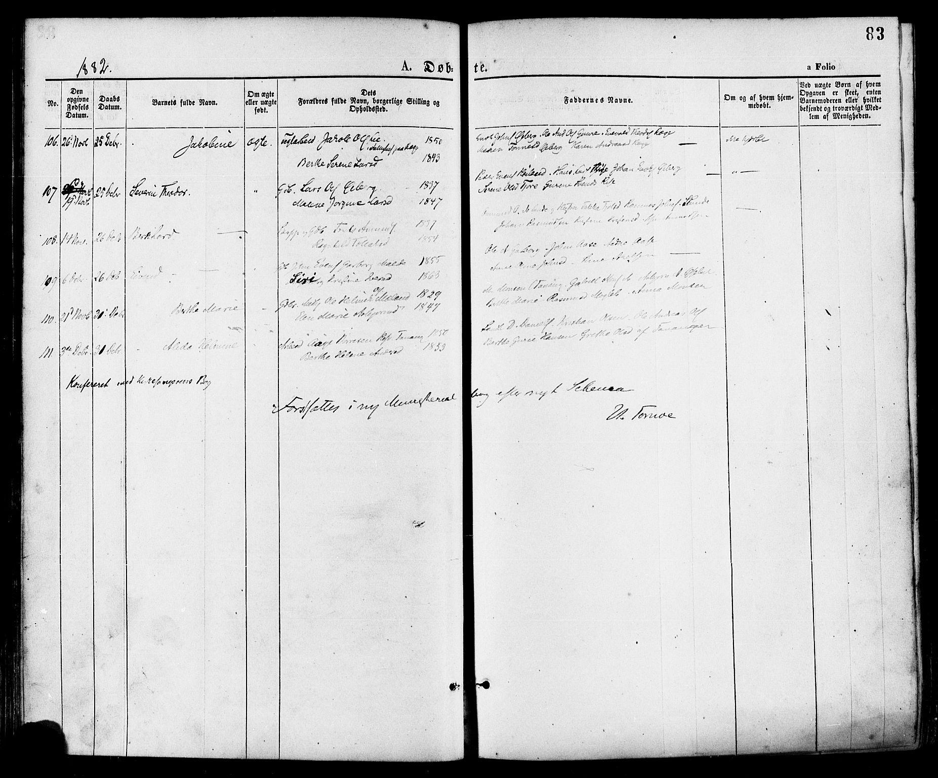 SAST, Håland sokneprestkontor, 30BA/L0009: Ministerialbok nr. A 8, 1871-1882, s. 83