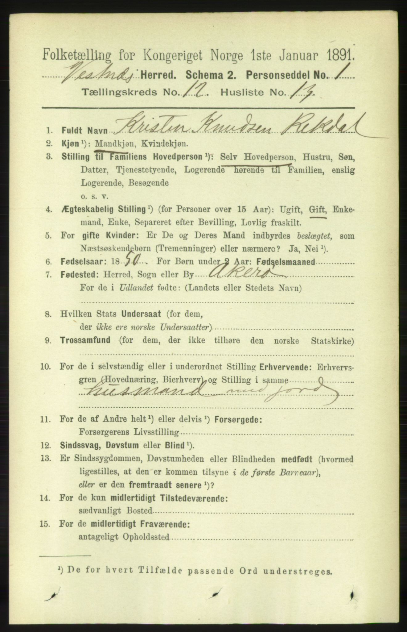 RA, Folketelling 1891 for 1535 Vestnes herred, 1891, s. 4478