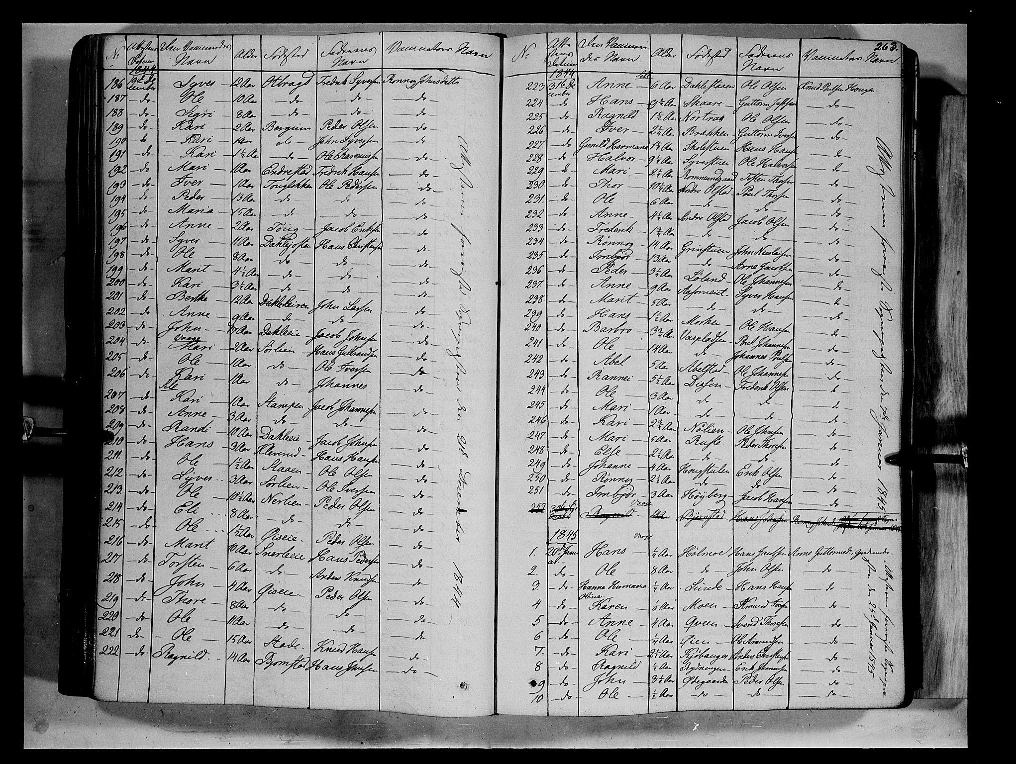 SAH, Vågå prestekontor, Ministerialbok nr. 5 /1, 1842-1856, s. 263