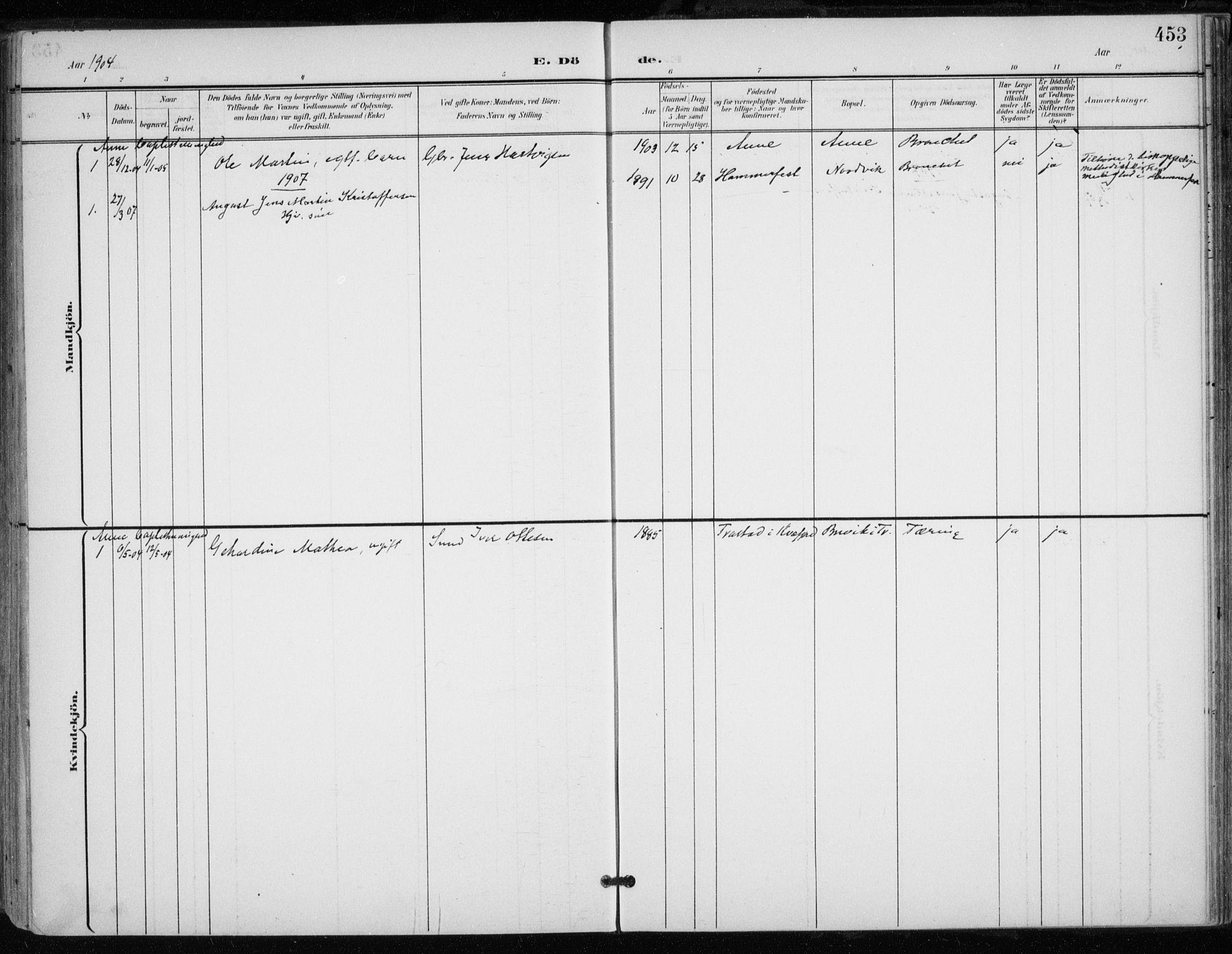 SATØ, Trondenes sokneprestkontor, H/Ha/L0017kirke: Ministerialbok nr. 17, 1899-1908, s. 453