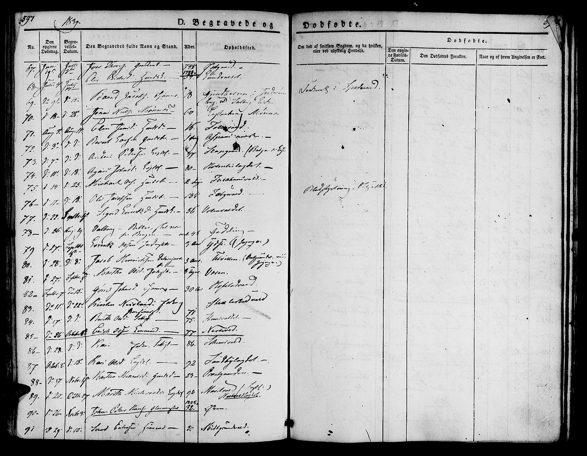 SAT, Ministerialprotokoller, klokkerbøker og fødselsregistre - Nord-Trøndelag, 723/L0238: Ministerialbok nr. 723A07, 1831-1840, s. 597-598