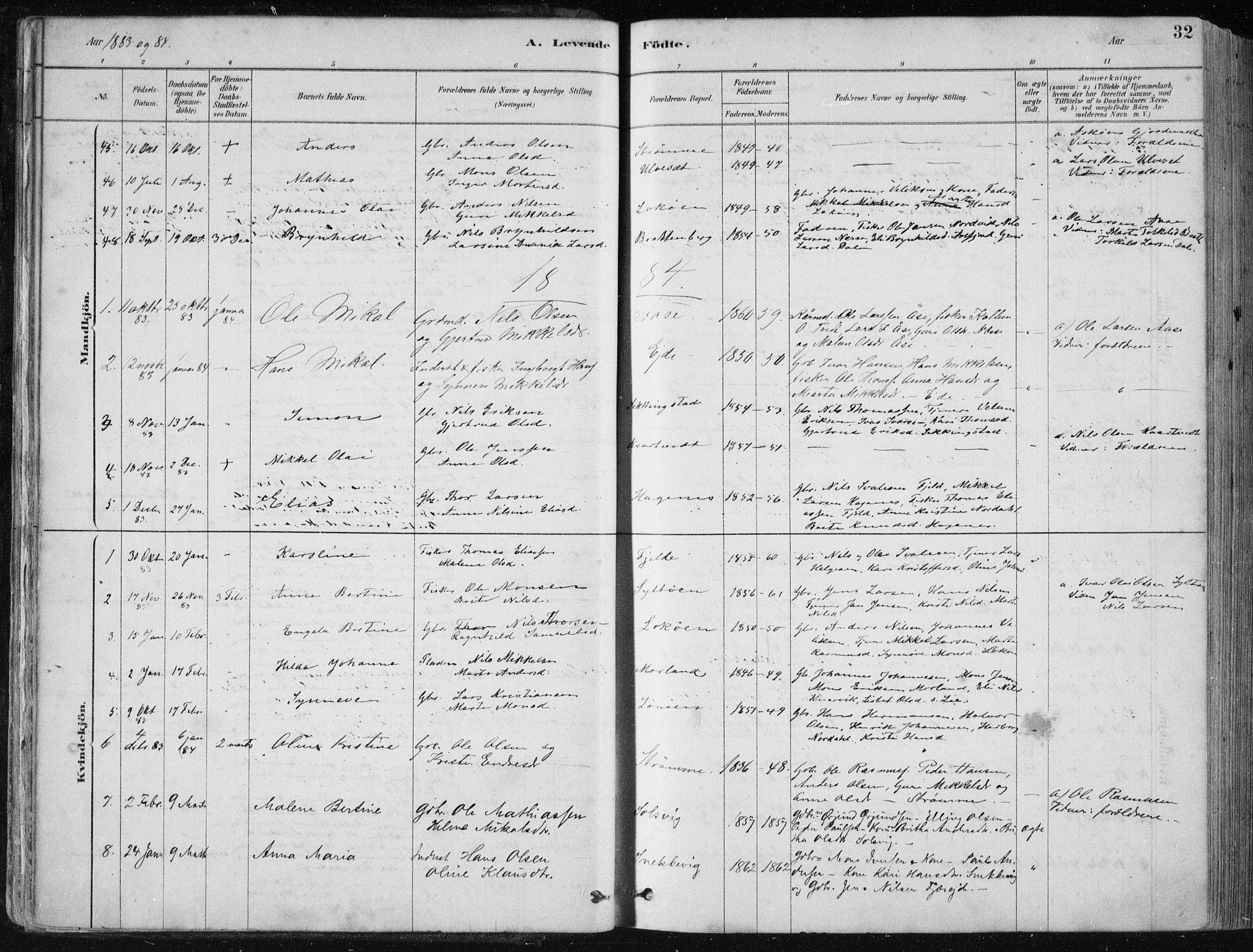SAB, Fjell sokneprestembete, H/Haa: Ministerialbok nr. A  8, 1878-1898, s. 32