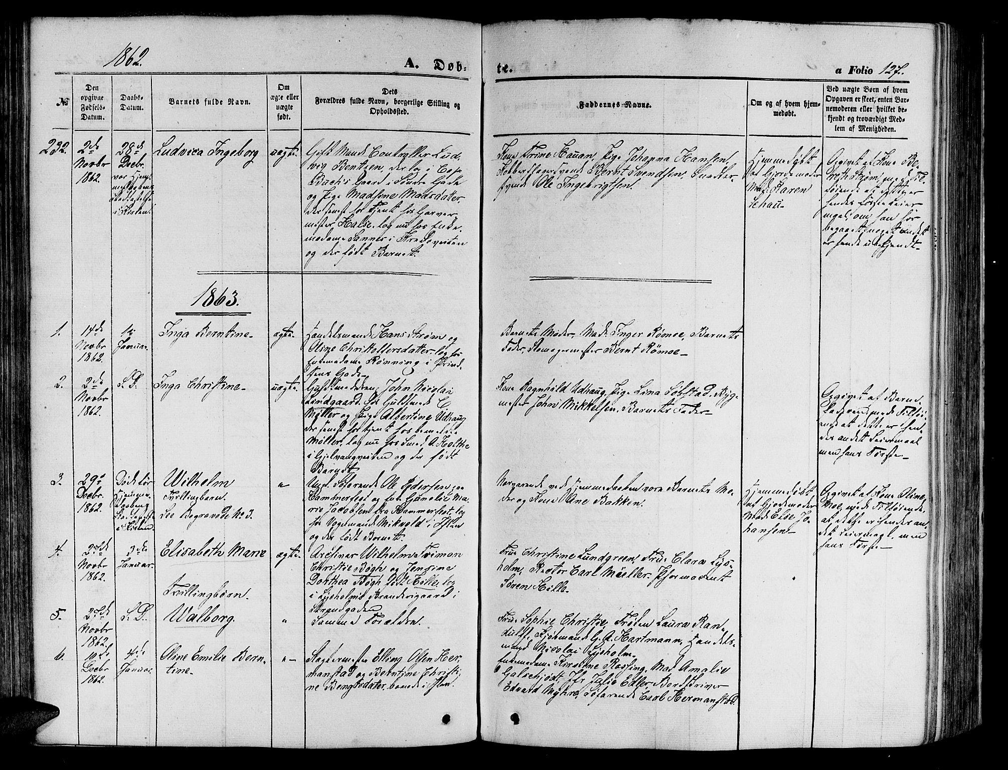 SAT, Ministerialprotokoller, klokkerbøker og fødselsregistre - Sør-Trøndelag, 602/L0139: Klokkerbok nr. 602C07, 1859-1864, s. 127