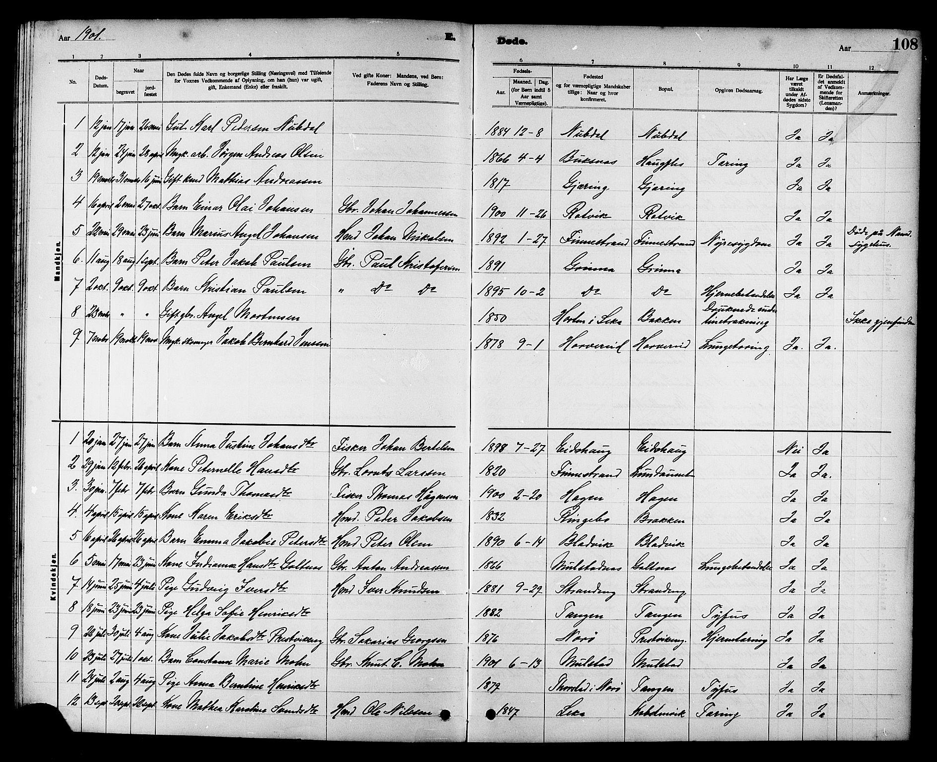 SAT, Ministerialprotokoller, klokkerbøker og fødselsregistre - Nord-Trøndelag, 780/L0652: Klokkerbok nr. 780C04, 1899-1911, s. 108