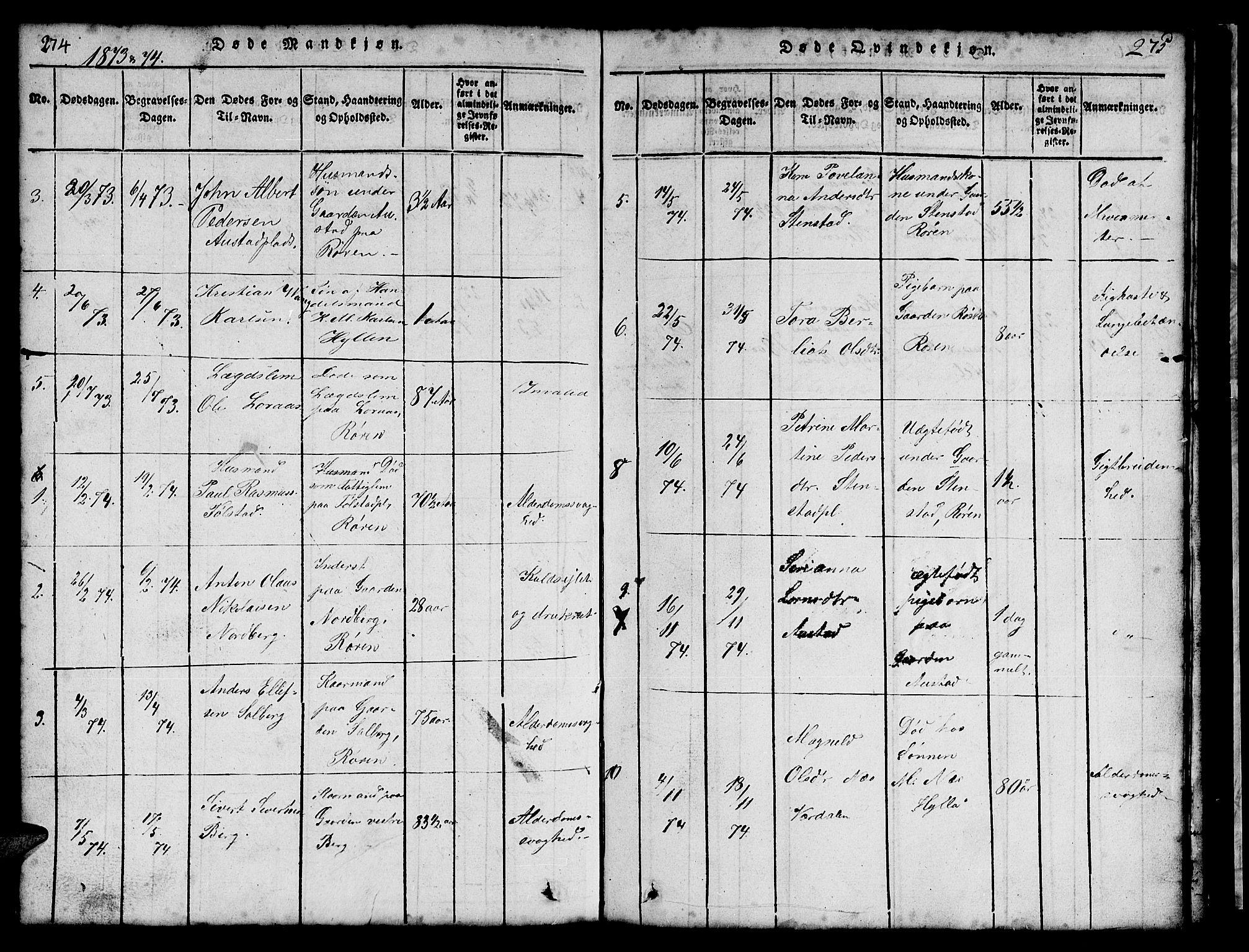 SAT, Ministerialprotokoller, klokkerbøker og fødselsregistre - Nord-Trøndelag, 731/L0310: Klokkerbok nr. 731C01, 1816-1874, s. 274-275