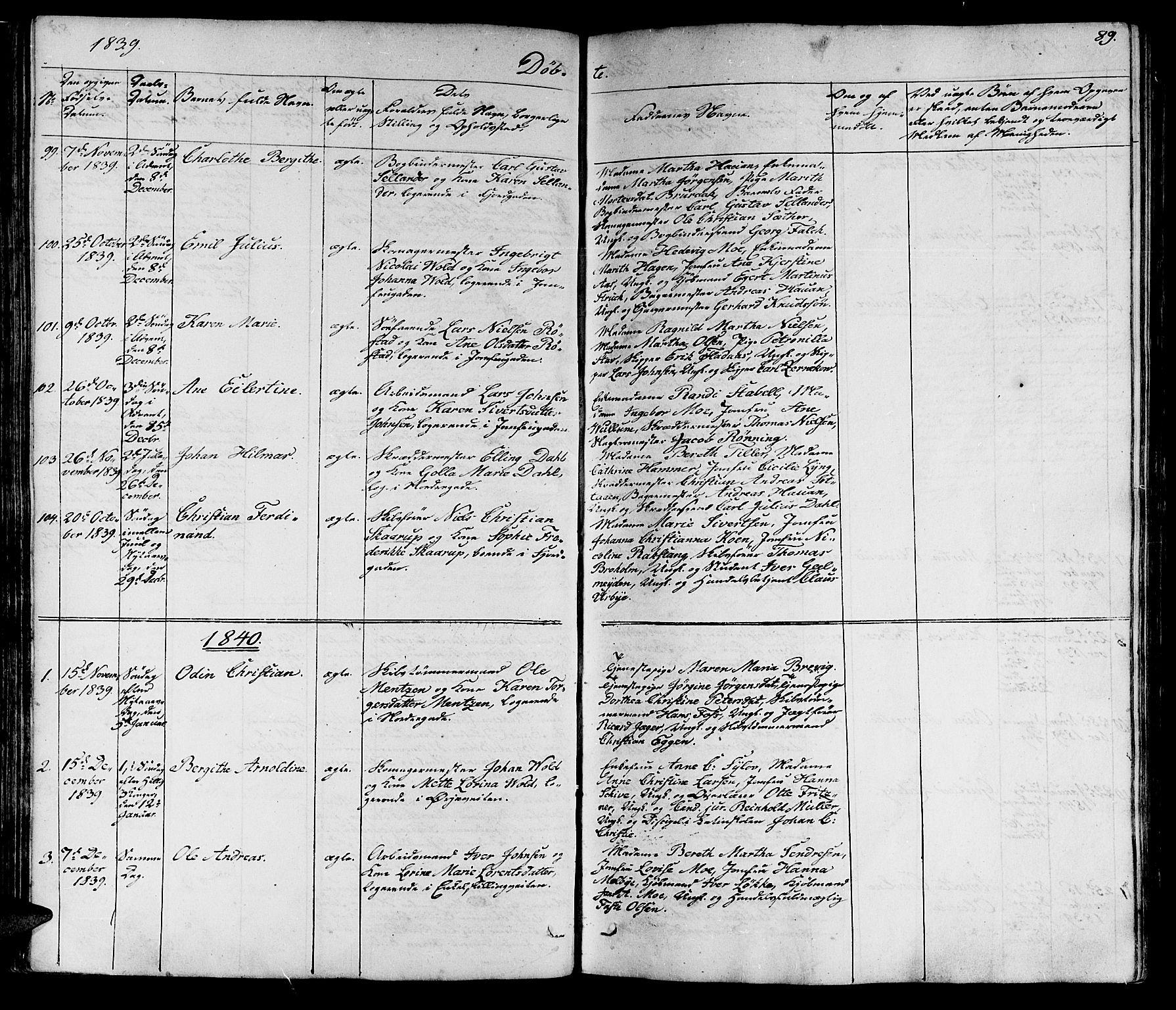 SAT, Ministerialprotokoller, klokkerbøker og fødselsregistre - Sør-Trøndelag, 602/L0136: Klokkerbok nr. 602C04, 1833-1845, s. 89