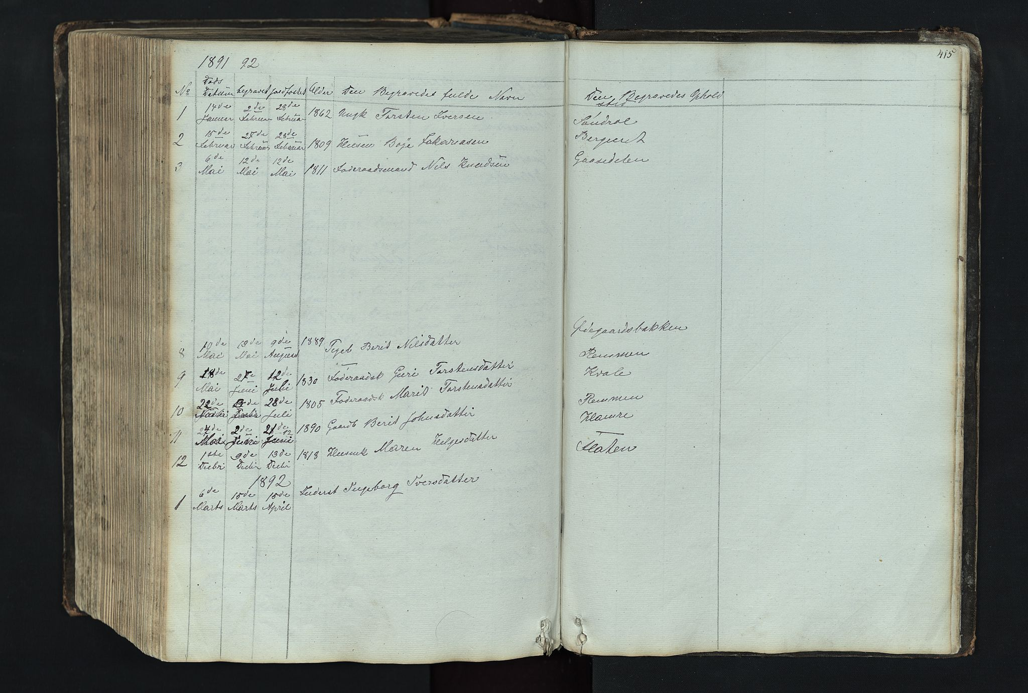 SAH, Vang prestekontor, Valdres, Klokkerbok nr. 4, 1835-1892, s. 415