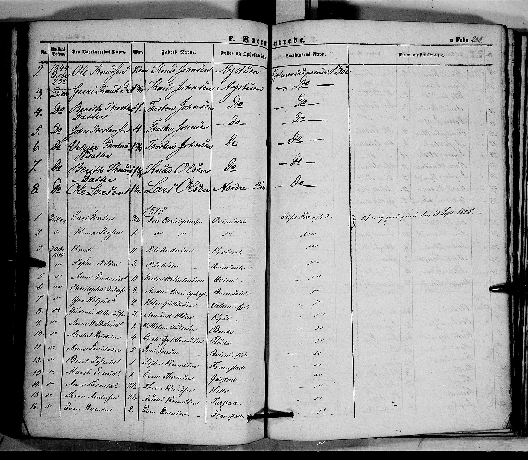 SAH, Vang prestekontor, Valdres, Ministerialbok nr. 5, 1831-1845, s. 200
