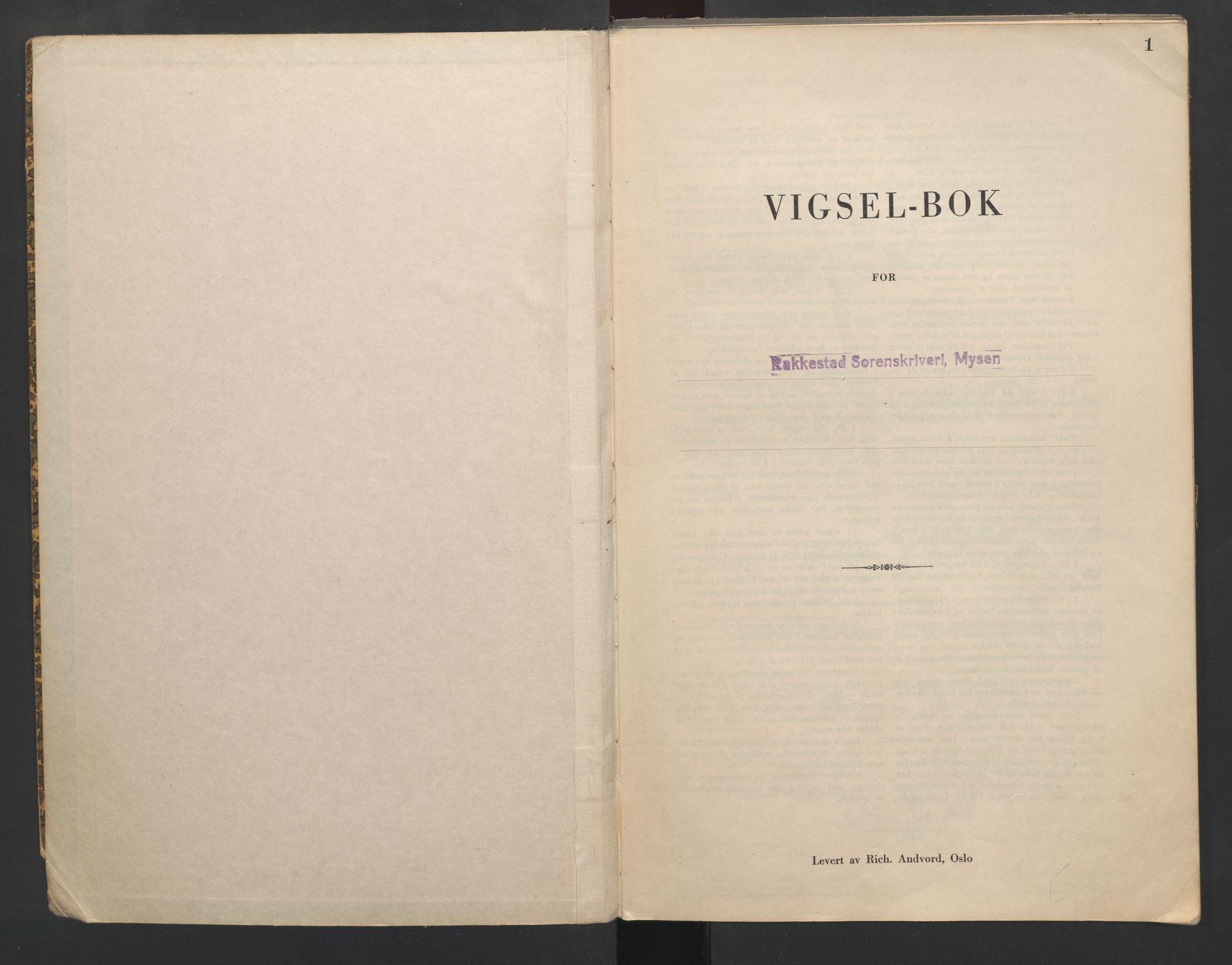 SAO, Rakkestad sorenskriveri, L/Lc/Lca/L0002: Vigselbøker, 1942-1943, s. 1