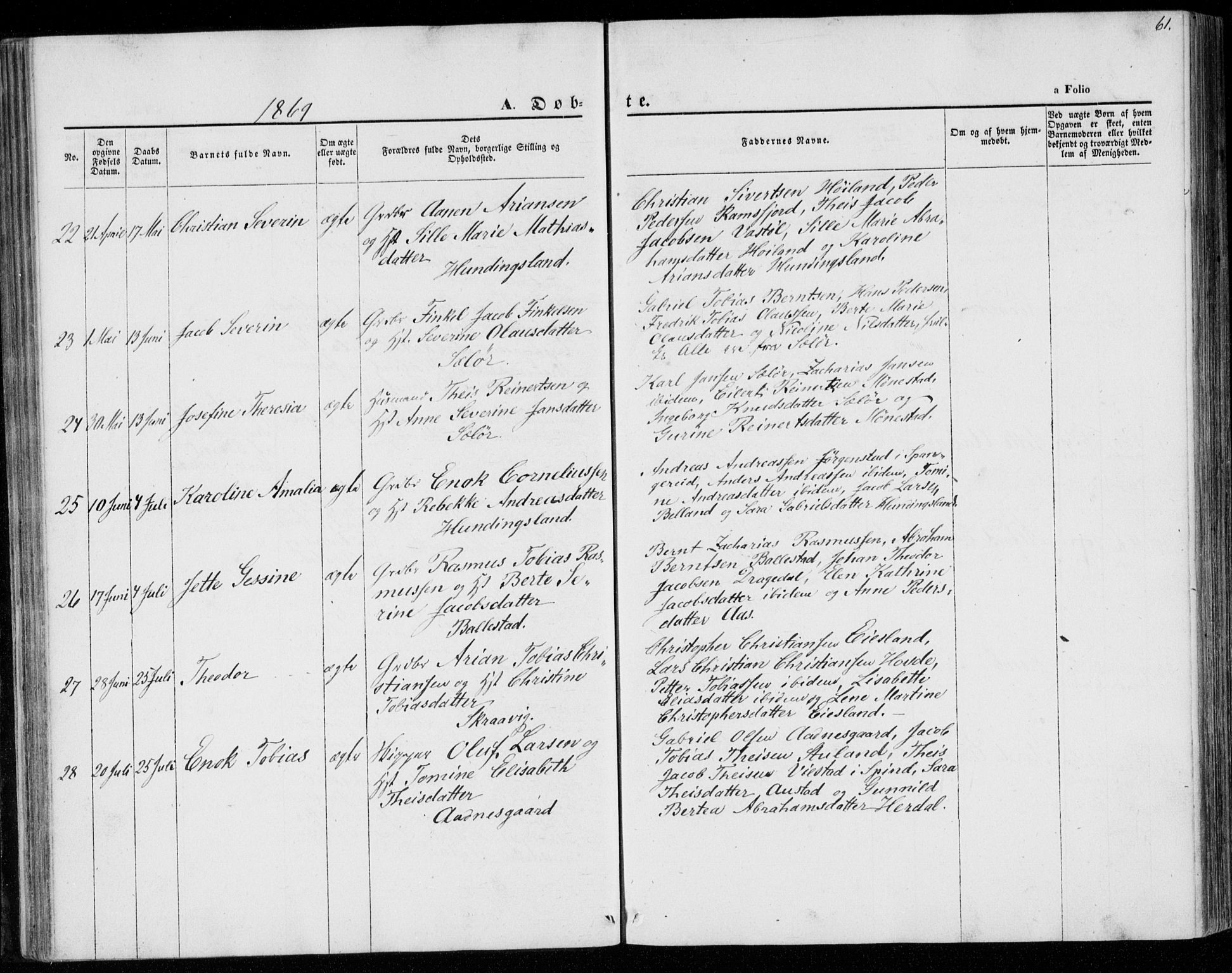 SAK, Lyngdal sokneprestkontor, F/Fa/Faa/L0002: Ministerialbok nr. A 2, 1858-1870, s. 61