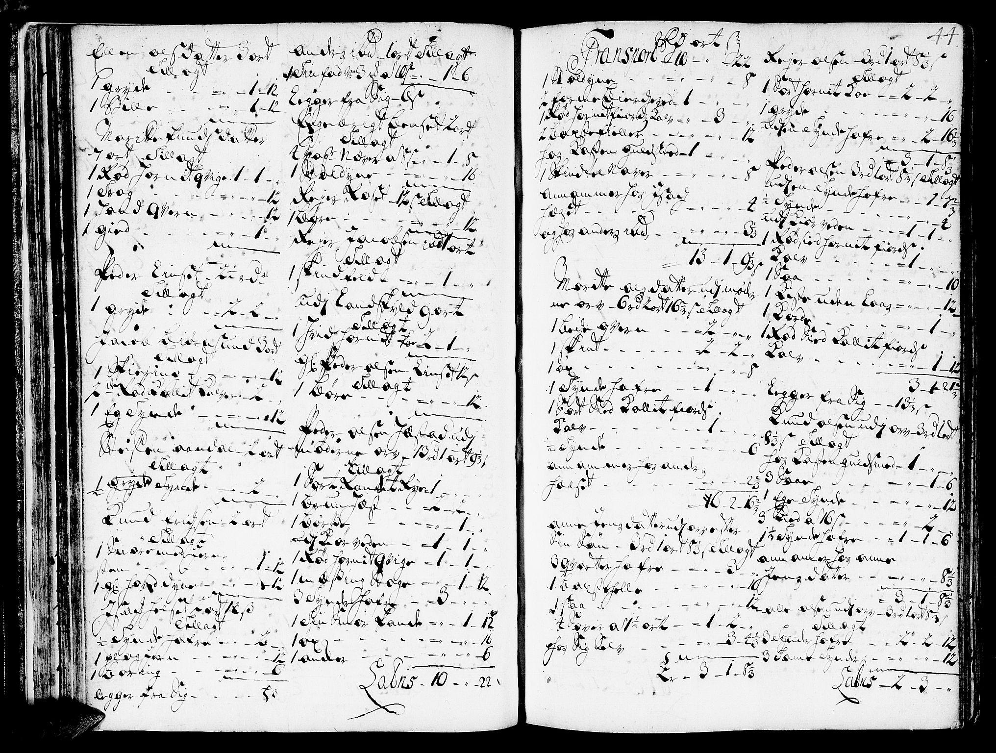 SAT, Romsdal sorenskriveri, 3/3A/L0006: Skifteprotokoll, 1718-1730, s. 43b-44a