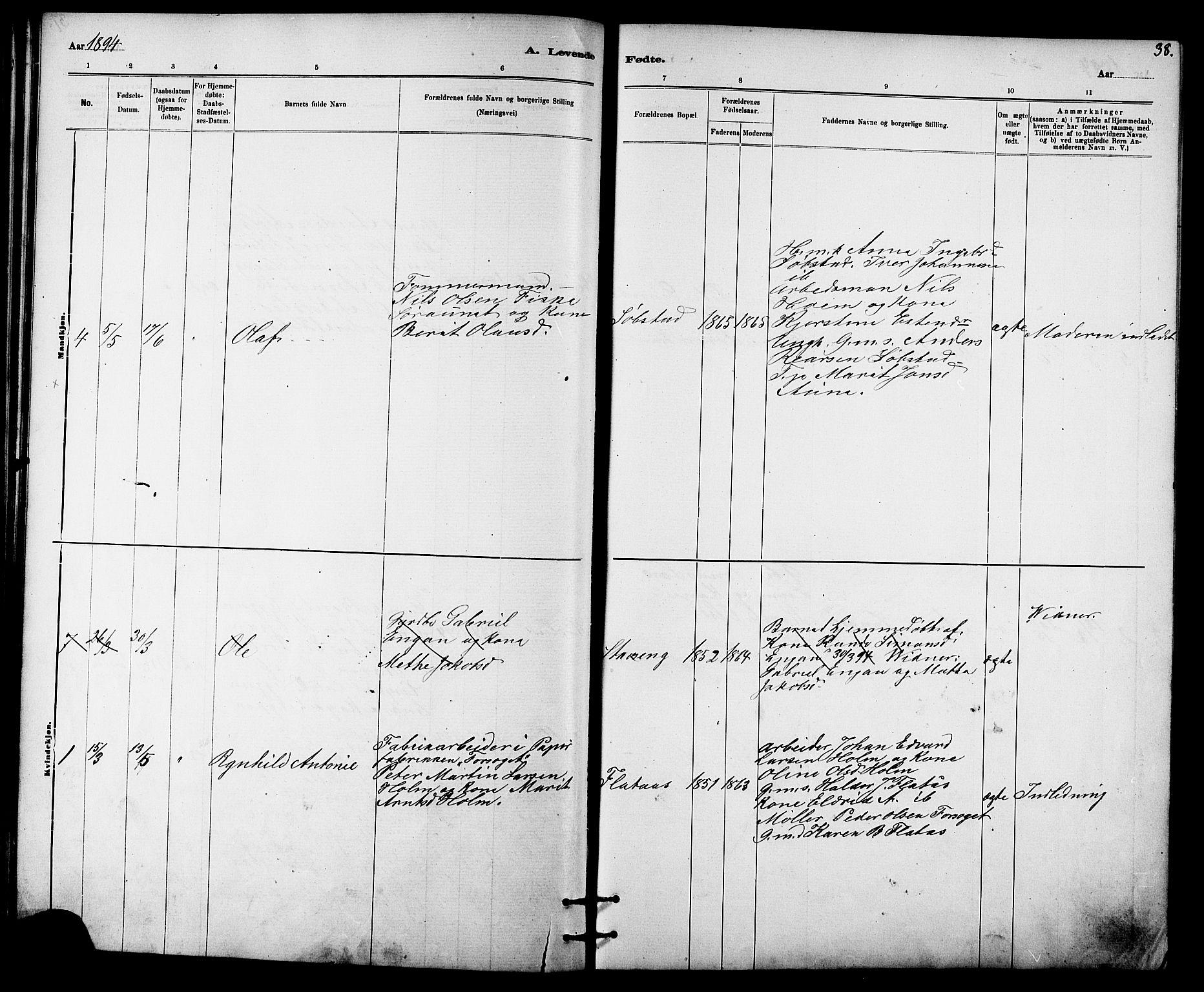 SAT, Ministerialprotokoller, klokkerbøker og fødselsregistre - Sør-Trøndelag, 613/L0395: Klokkerbok nr. 613C03, 1887-1909, s. 38