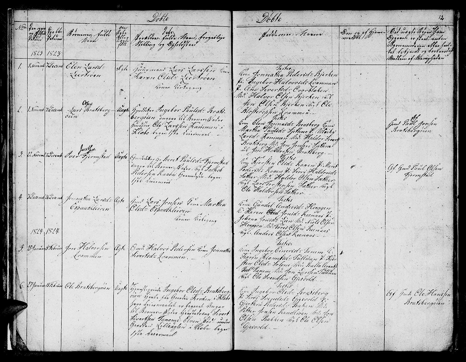 SAT, Ministerialprotokoller, klokkerbøker og fødselsregistre - Sør-Trøndelag, 608/L0337: Klokkerbok nr. 608C03, 1821-1831, s. 12